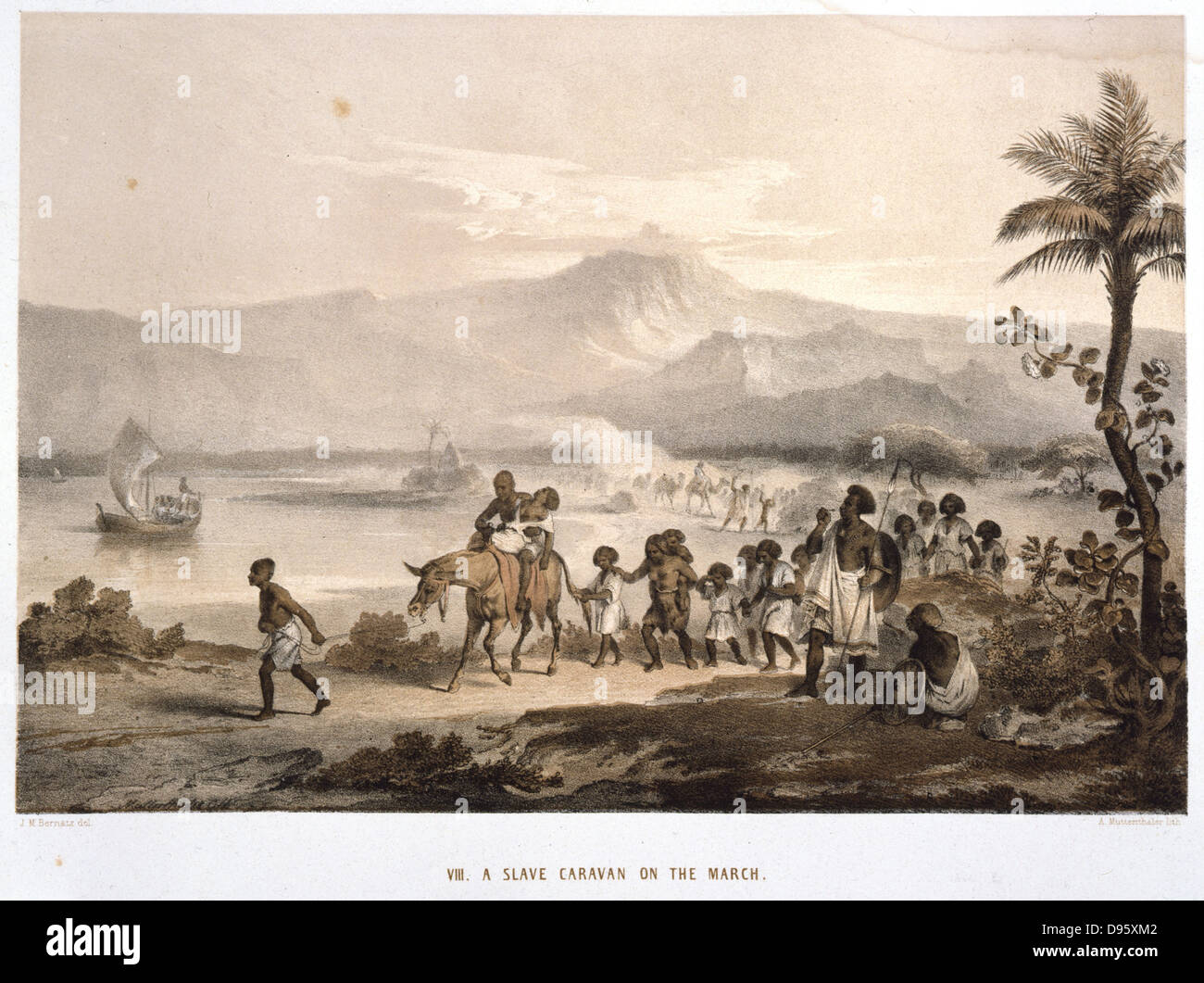 Slave Caravan on the March', Ethiopia. Tinted lithograph after drawing by JM Bernatz, published London, 1852. - Stock Image