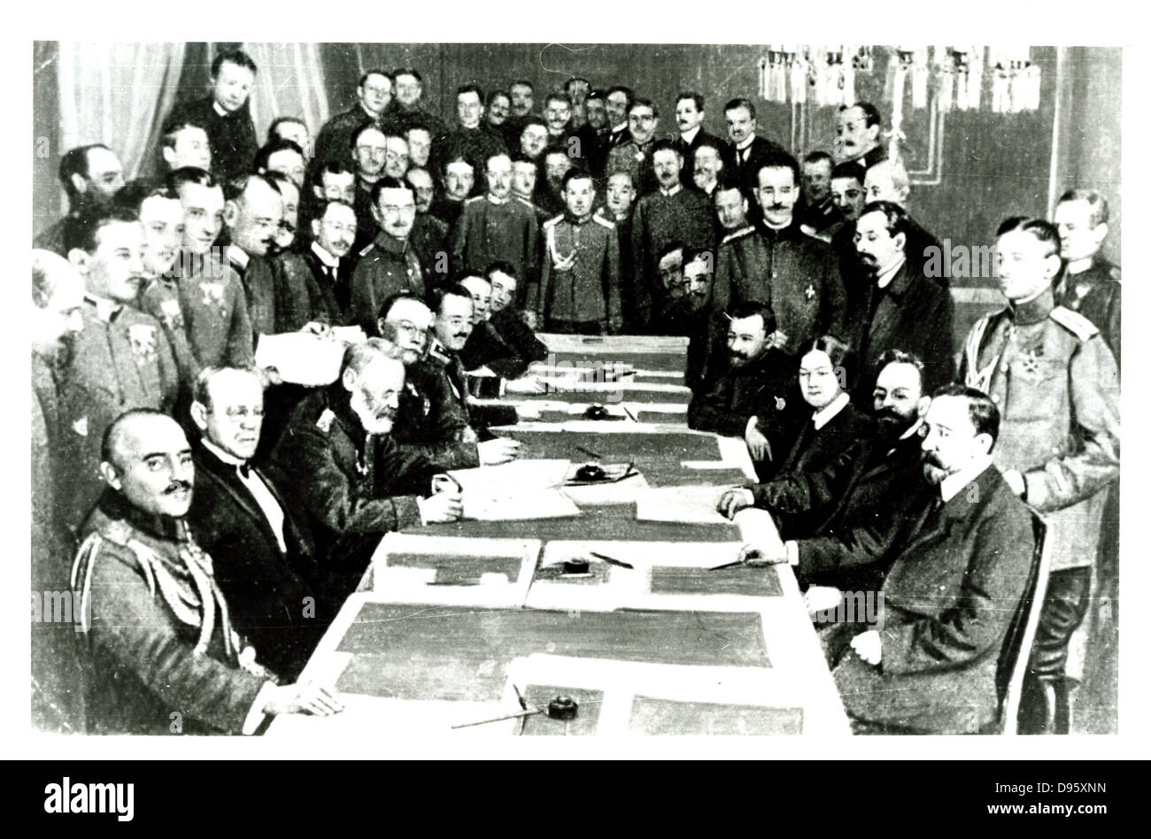 Negotiating the Treaty of Brest-Litovsk.  Finally signed on 3 March 1918, it marked Russia's exit from World - Stock Image