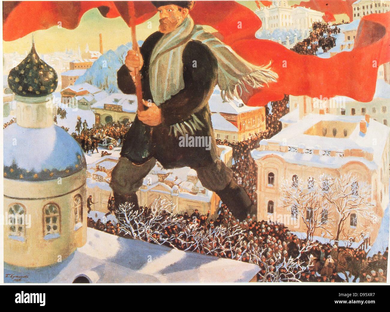 The Bolschevist. After 1920 painting by Boris Mihajlovic Kustodiev (1878-1927). Russian - Stock Image