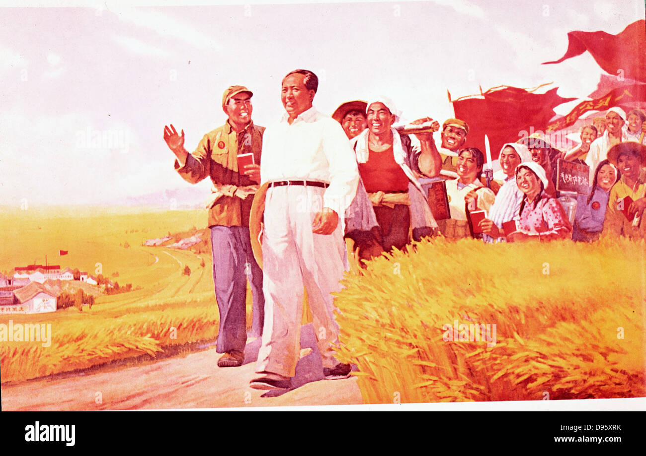 Chinese propaganda poster showing Mao Tse-Tung (Mao Zedong), Chinese Communist leader, with peasants during the - Stock Image