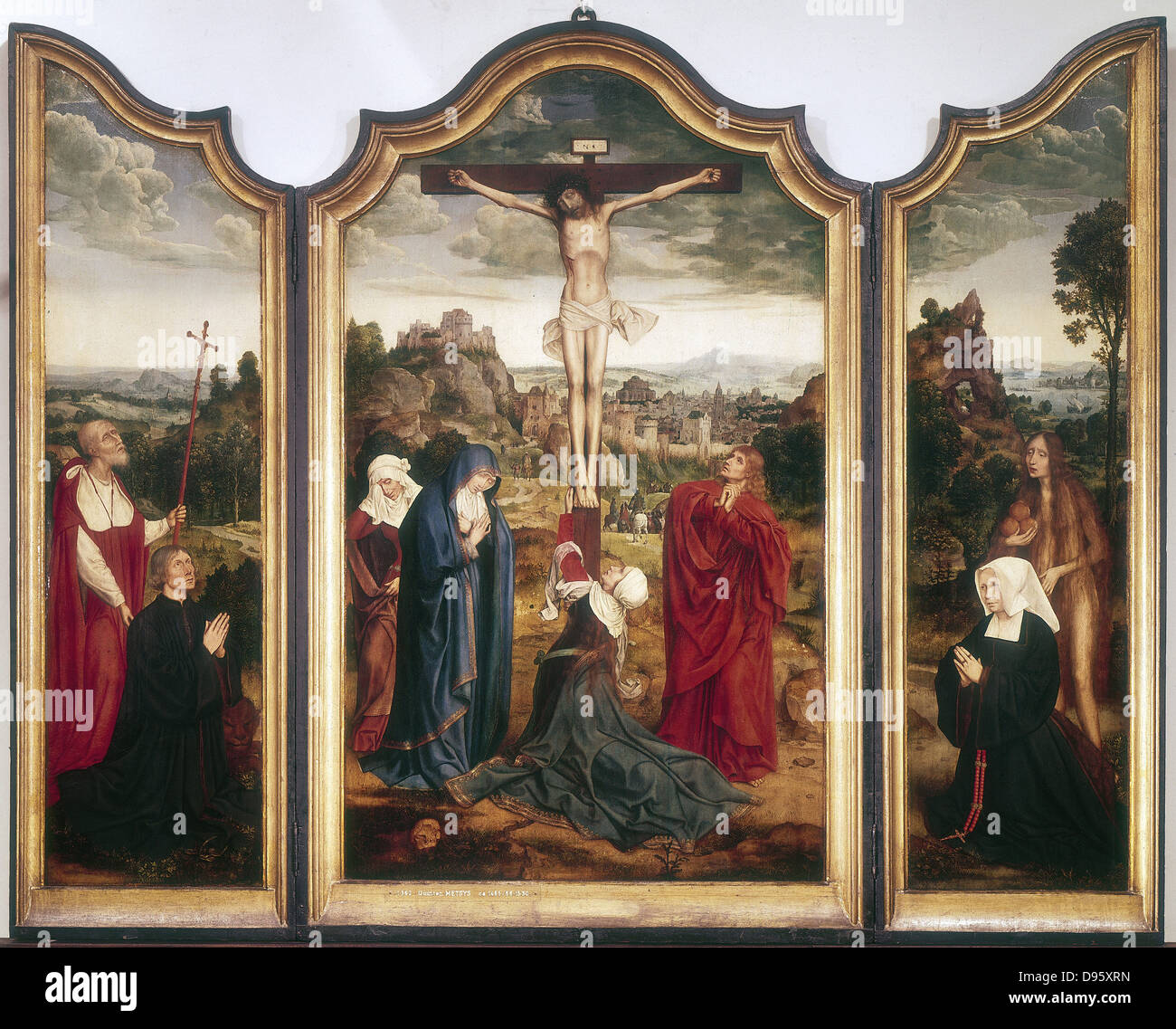 Triptych of the Crucifixion. Artist, Quentin Metsys (c1466-1531). Dutch. - Stock Image