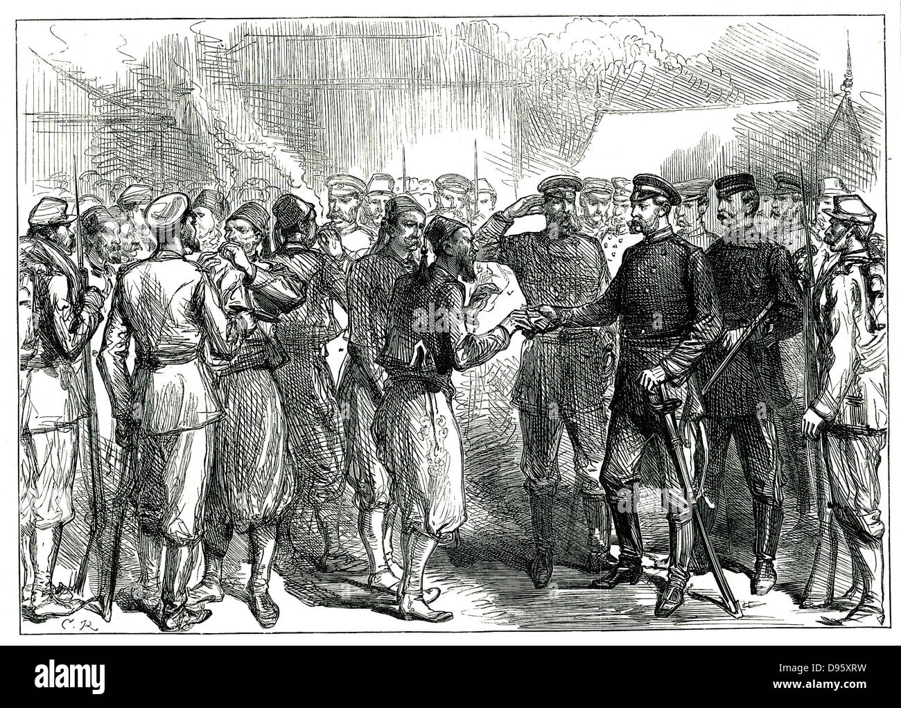 Russo-Turkish War 1877-1878. Tsar Alexander II giving cigarettes to Turkish  prisoners