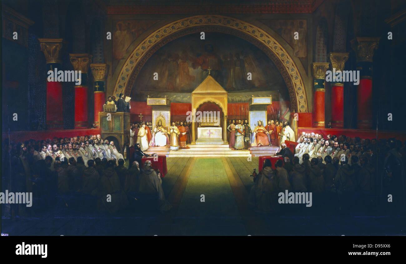 Meeting of the Chapter of the Knights Templar under Robert de Bouguignon, held in Paris in presence of Louis VII - Stock Image