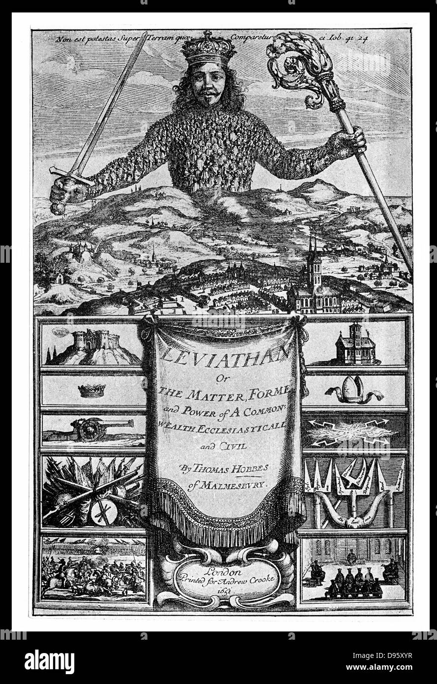 Titl page of 'Leviathan' by Thomas Hobbes (London, 1651). Hobbes (1588-1679) Enlgish political philosopher. Argued Stock Photo