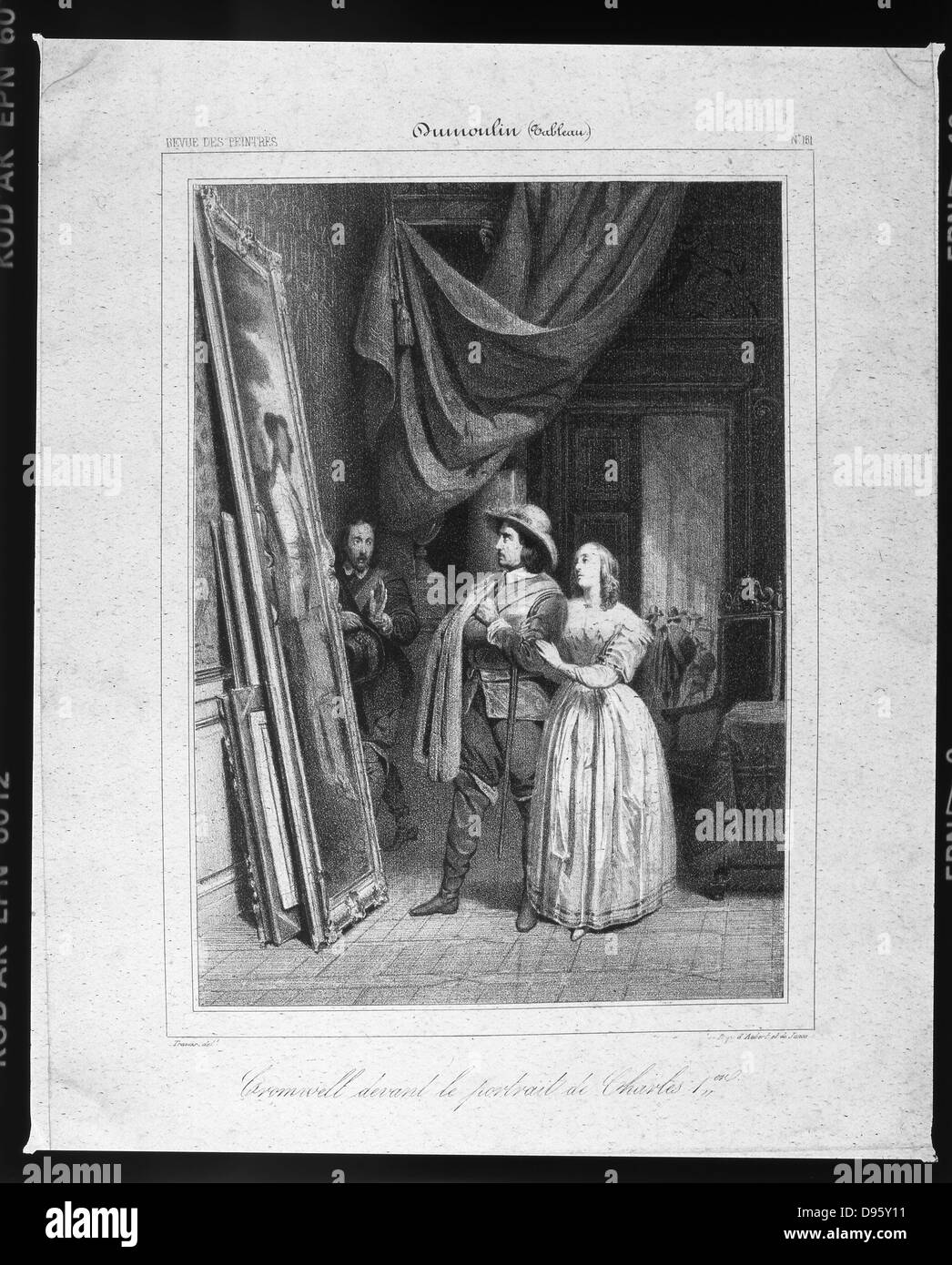Oliver Cromwell (1599-1658) English soldier and statesman, with his wife, standing in front a portrait of Charles - Stock Image