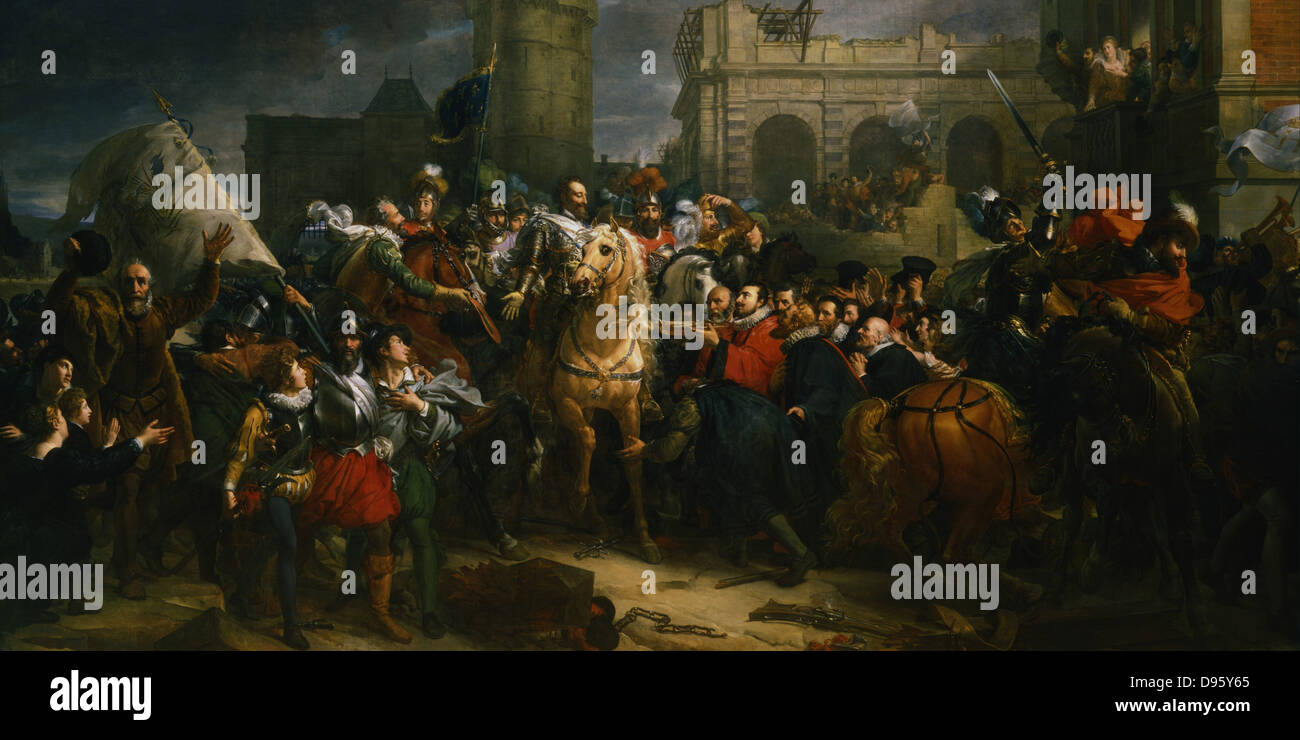 Henry  IV of France entering Paris, 22 March 1594.  Galerie des Batailles,  Versailles, France - Stock Image