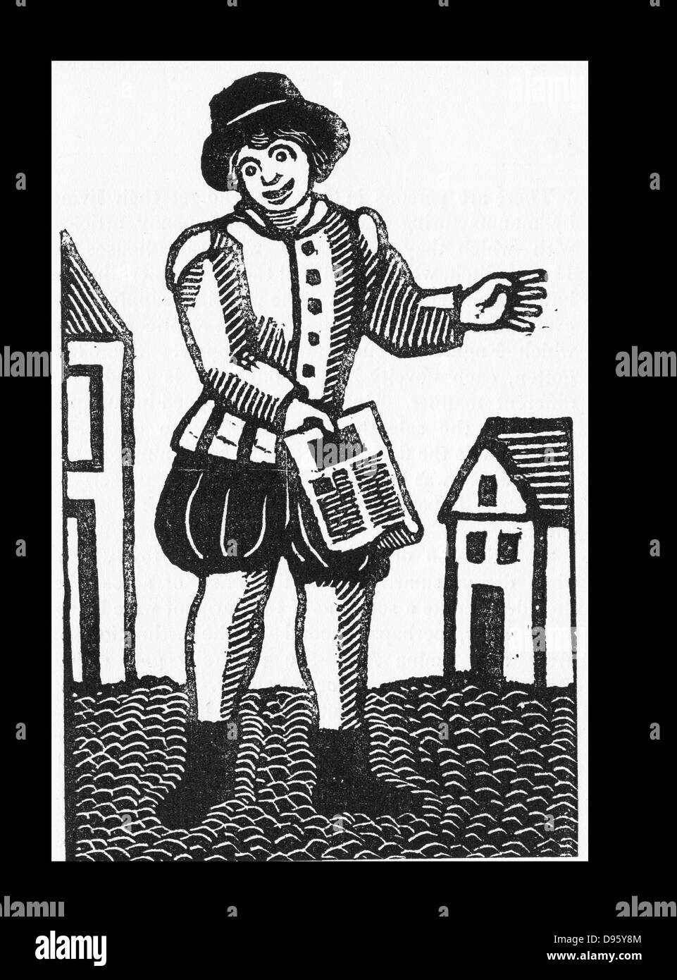 Pedlar selling printed ballads in the street. 17th century London. - Stock Image