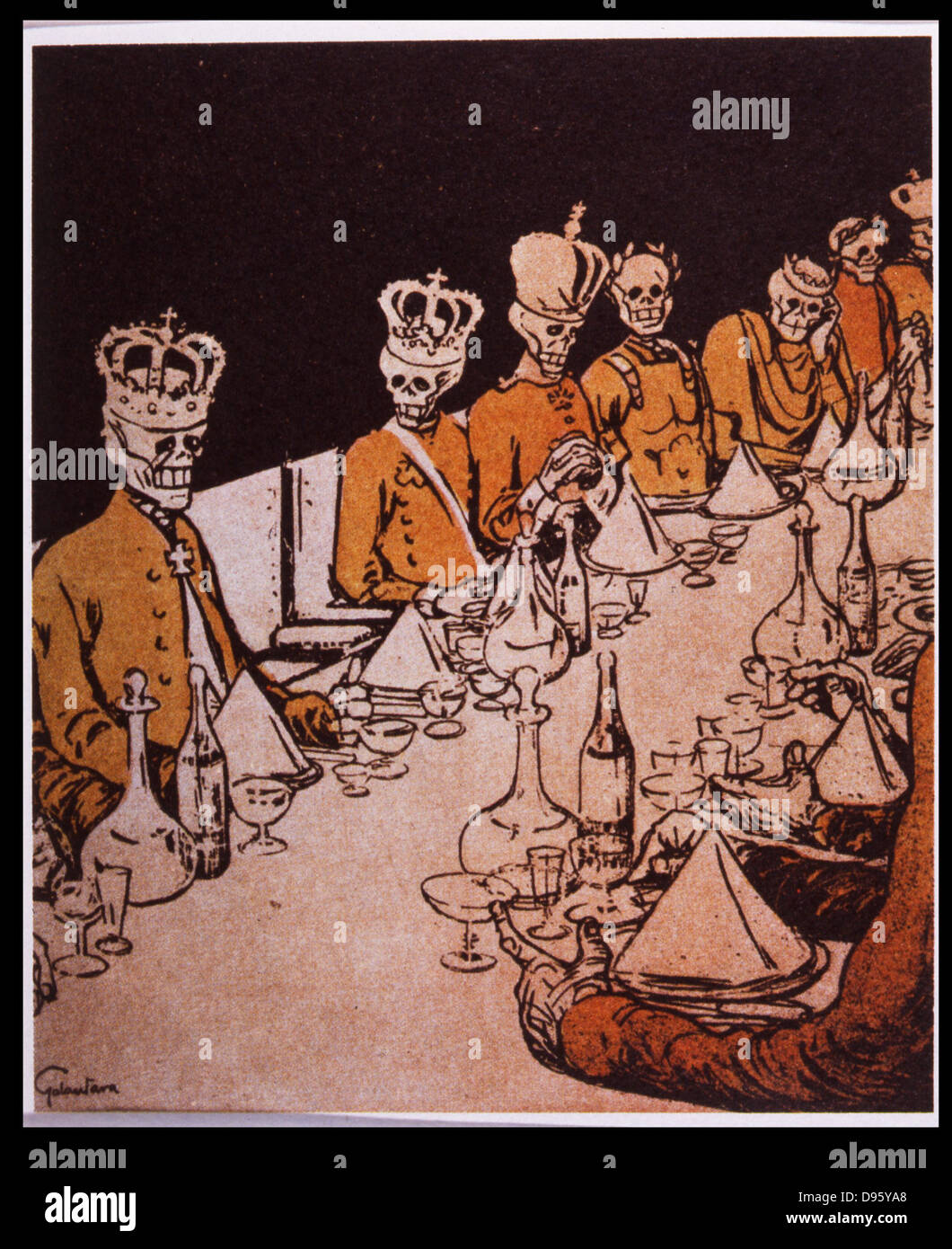 Forecast of the future of European monarchs after 1905 Revolution in Russia.  Cartoon from 'L'Assiette au - Stock Image