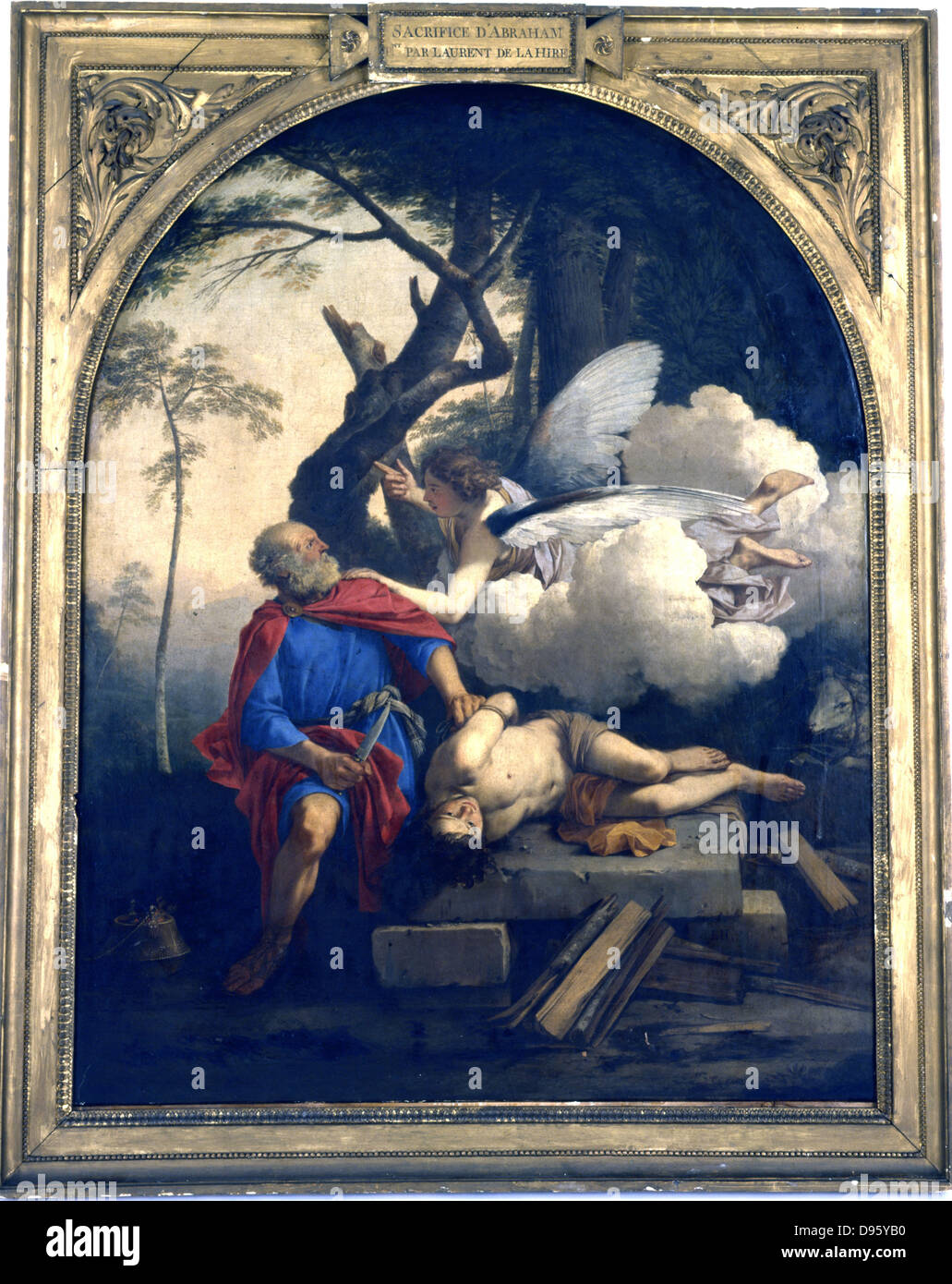 The Sacrifice of Abraham. Angel of the Lord stays Abraham's hand  before he sacirfices Isaac on the order of the Stock Photo