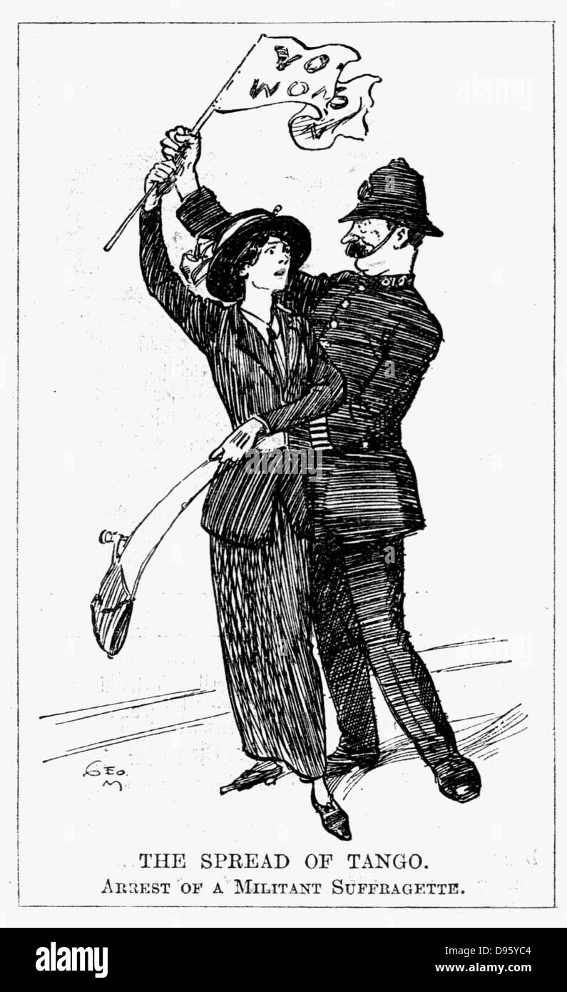Votes for Women. A somewhat embarrassed British policeman experienceing difficulty in arressting a militant suffragette. - Stock Image