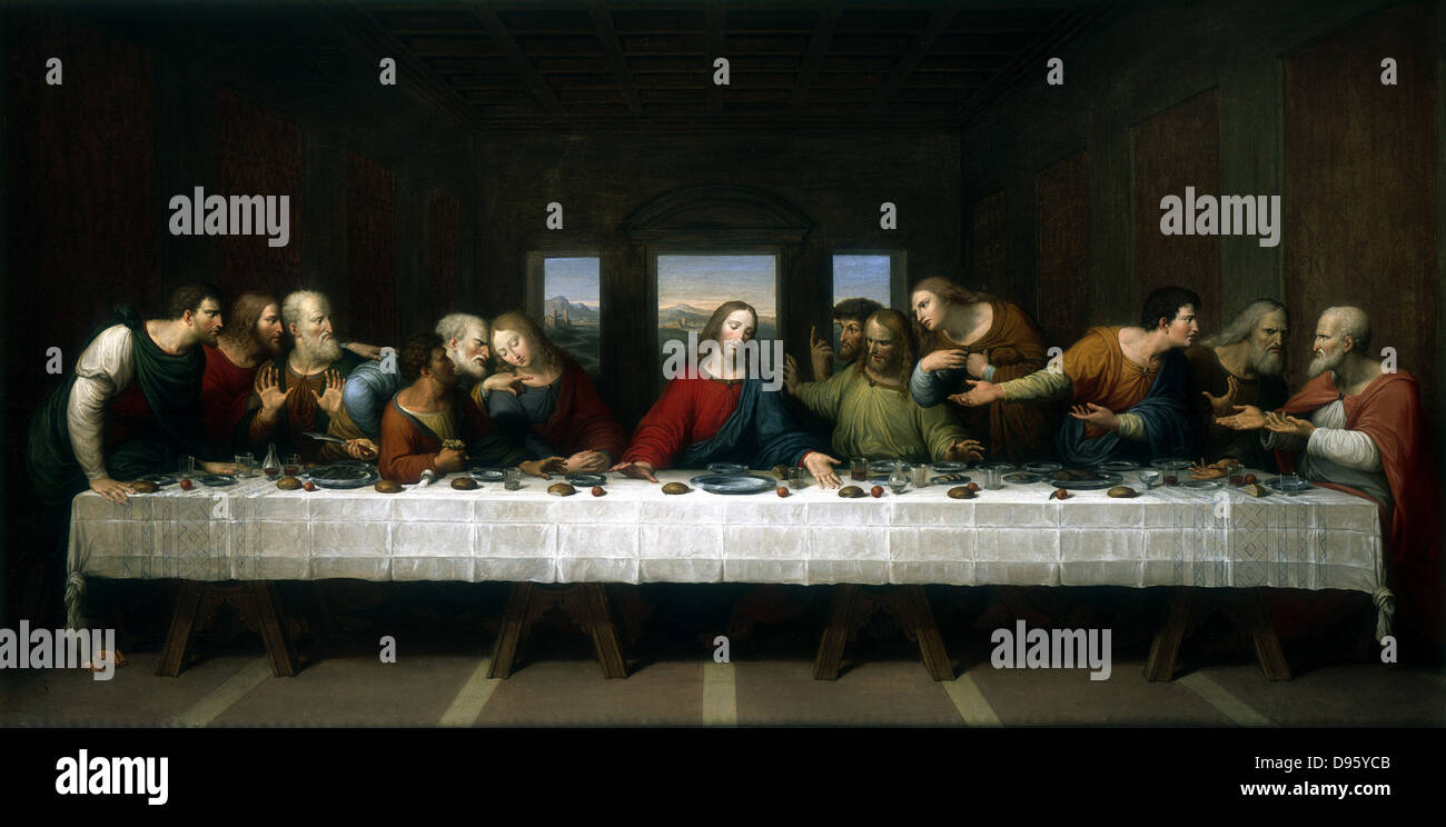 The Last Supper' (1803) Michael Kock (1765-1825) copy of the picture by Leonardo da Vinci. Private Collection - Stock Image