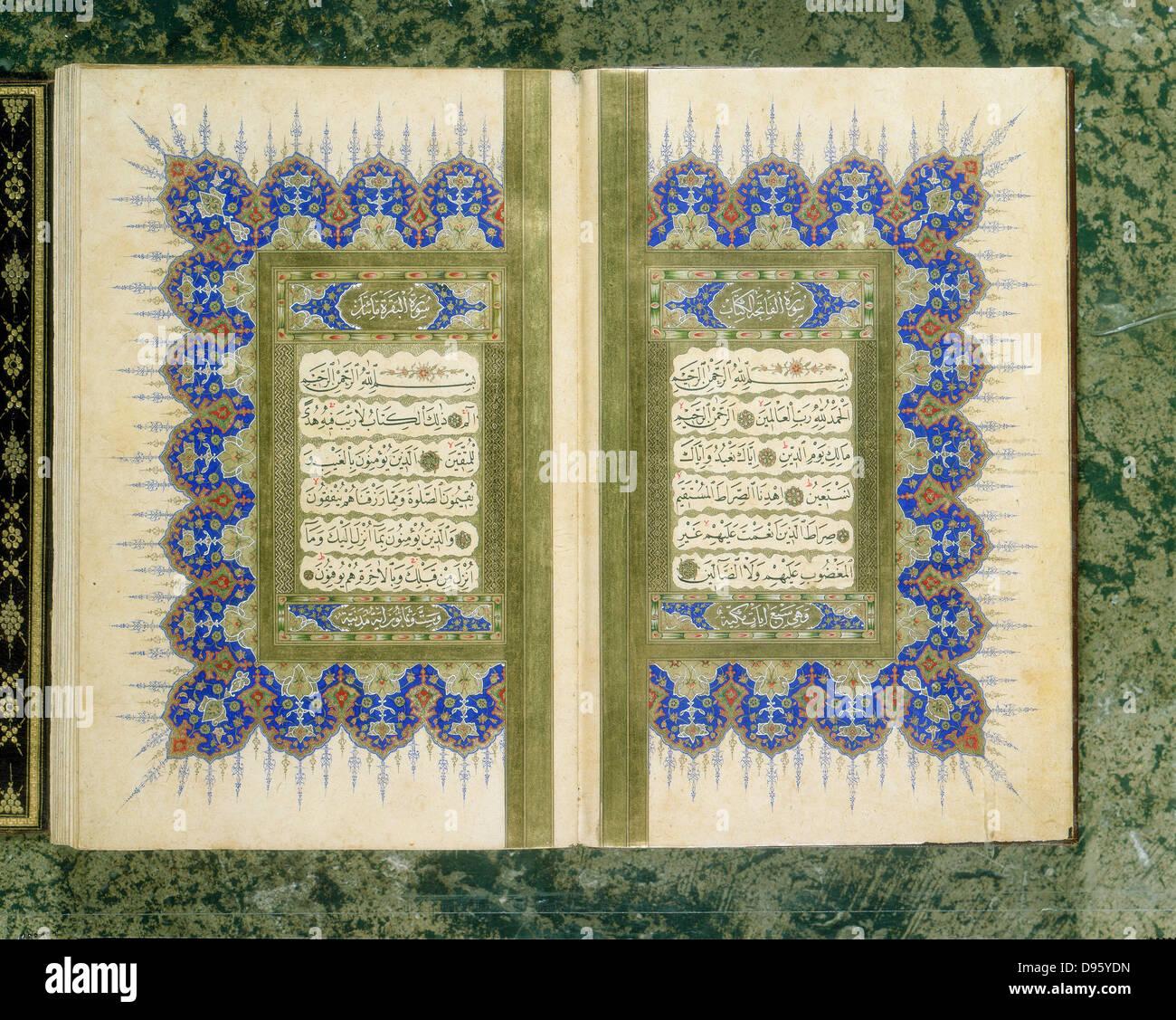 Koran. 1867 manuscript. Priavte Collection - Stock Image