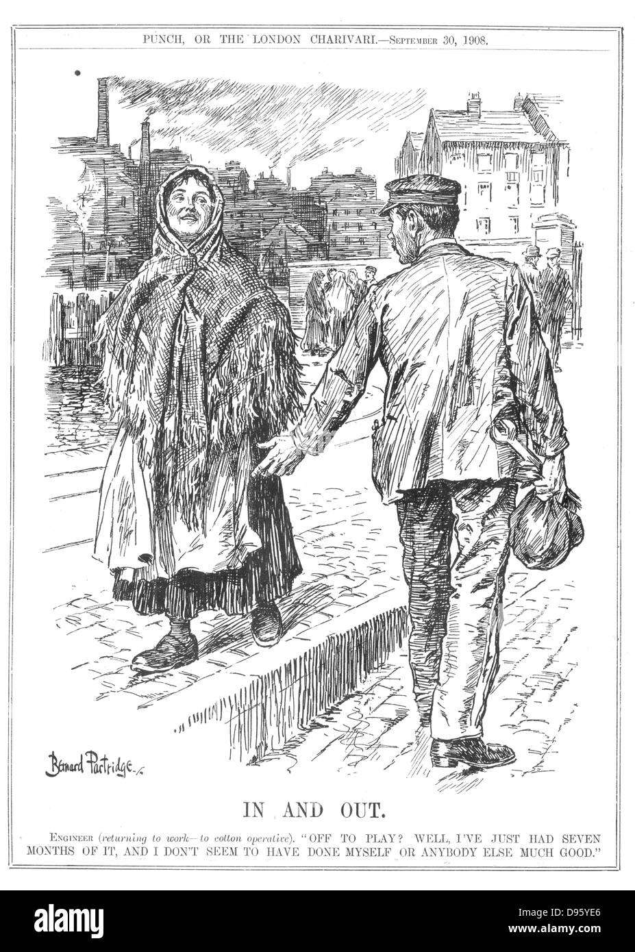 Industrial disputes. Engineer returning to work after seven months, advising a Lancashire cotton spinner that she - Stock Image