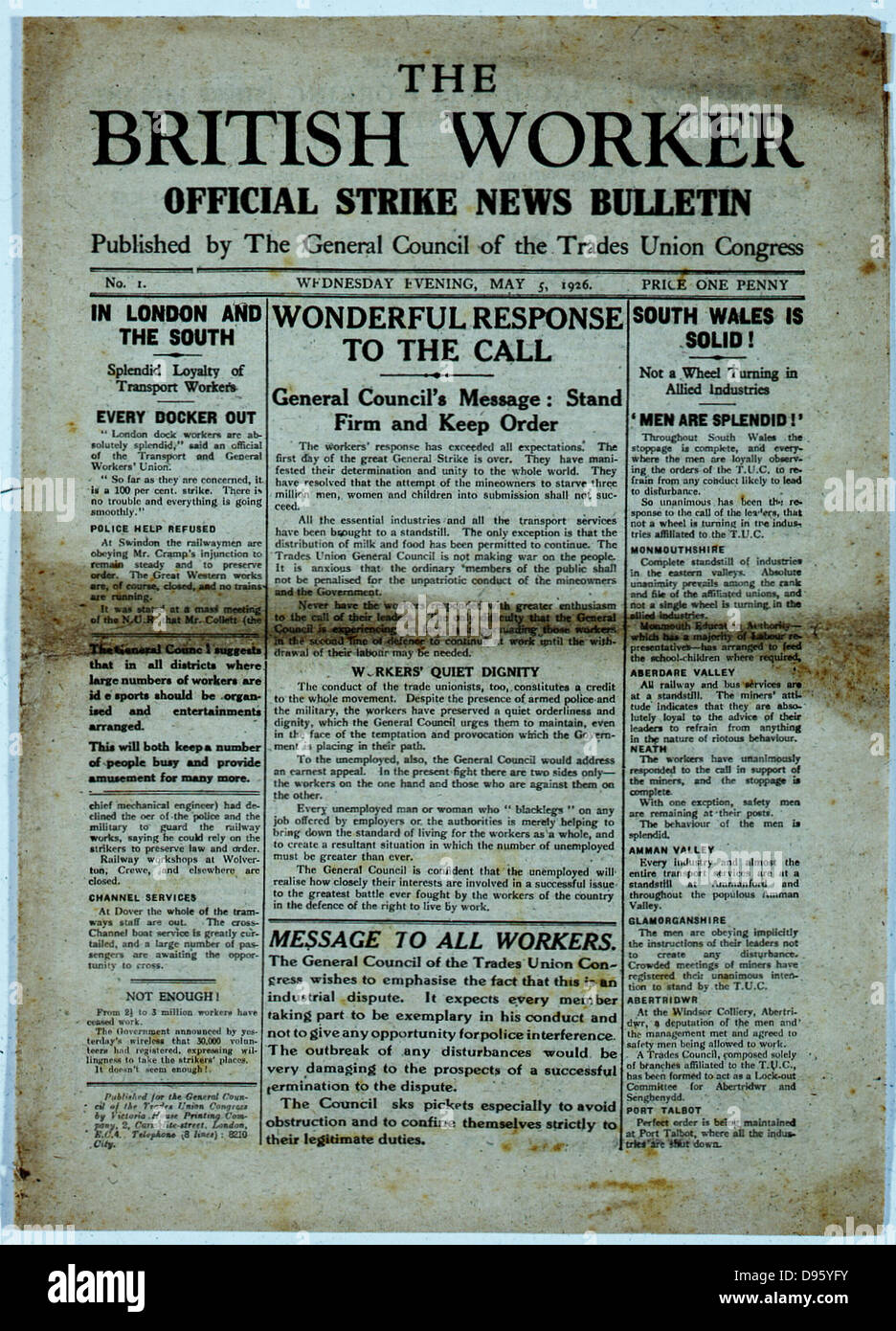Front page of 'The British Worker' published by the Trades Union Congress on 5 May 1926 during the General - Stock Image