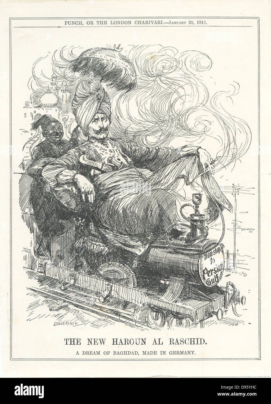 Wilhelm II, Emperor of Germany, dreaming of a German rail link to Baghdad and oil. Cartoon by Leonard Raven-Hill Stock Photo