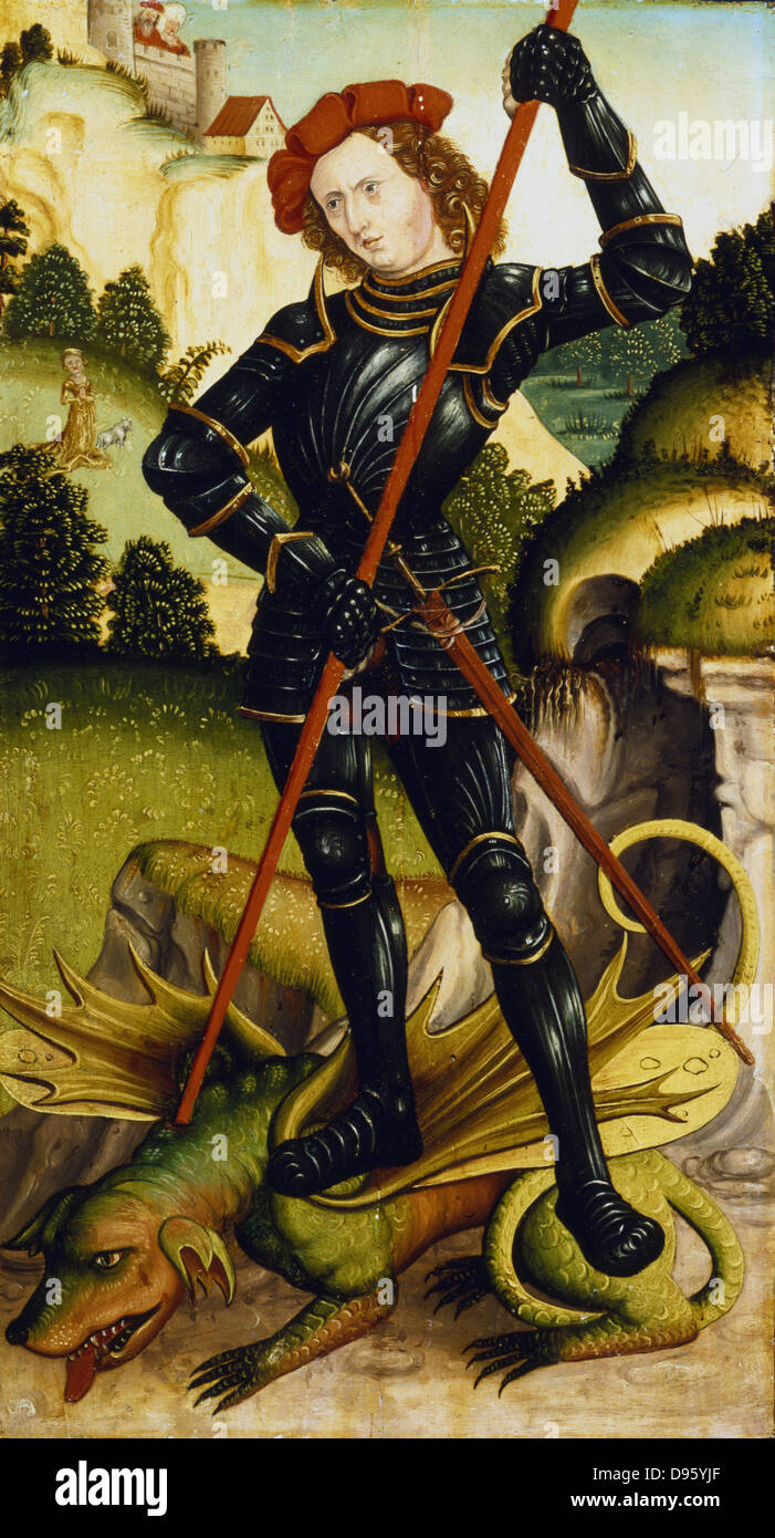 St George and the Dragon. High Rhenish School c1500.  Private collection. - Stock Image