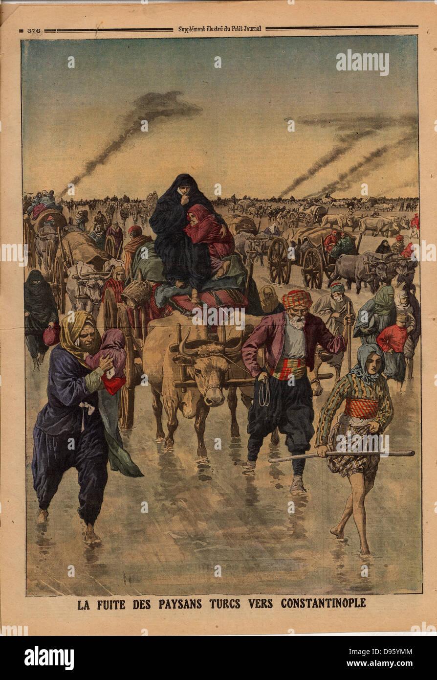 Balkan Wars: Flight of Turkish peasants towards Constantinople. From 'Le Petit Journal', Paris, 24 November - Stock Image