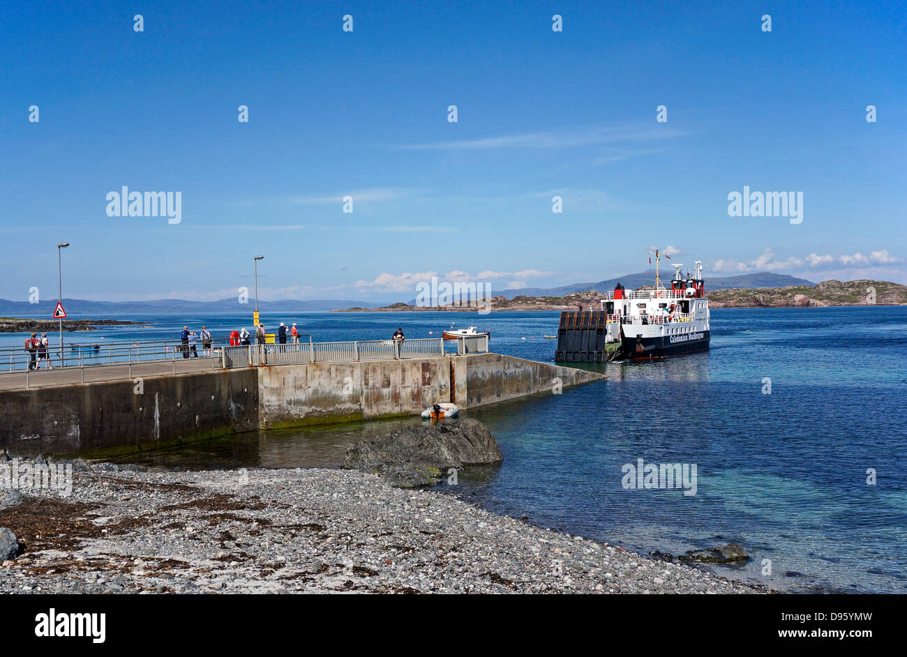Caledonian MacBrayne car and passenger ferry MV Loch Buie approaching pier in Baile Mor Isle of Iona Inner Hebrides - Stock Image