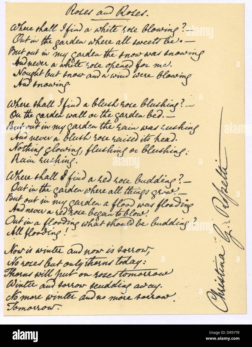 Manuscript of 'Roses and Roses', the poem by Christina Georgina Rosetti (1830-1894). - Stock Image