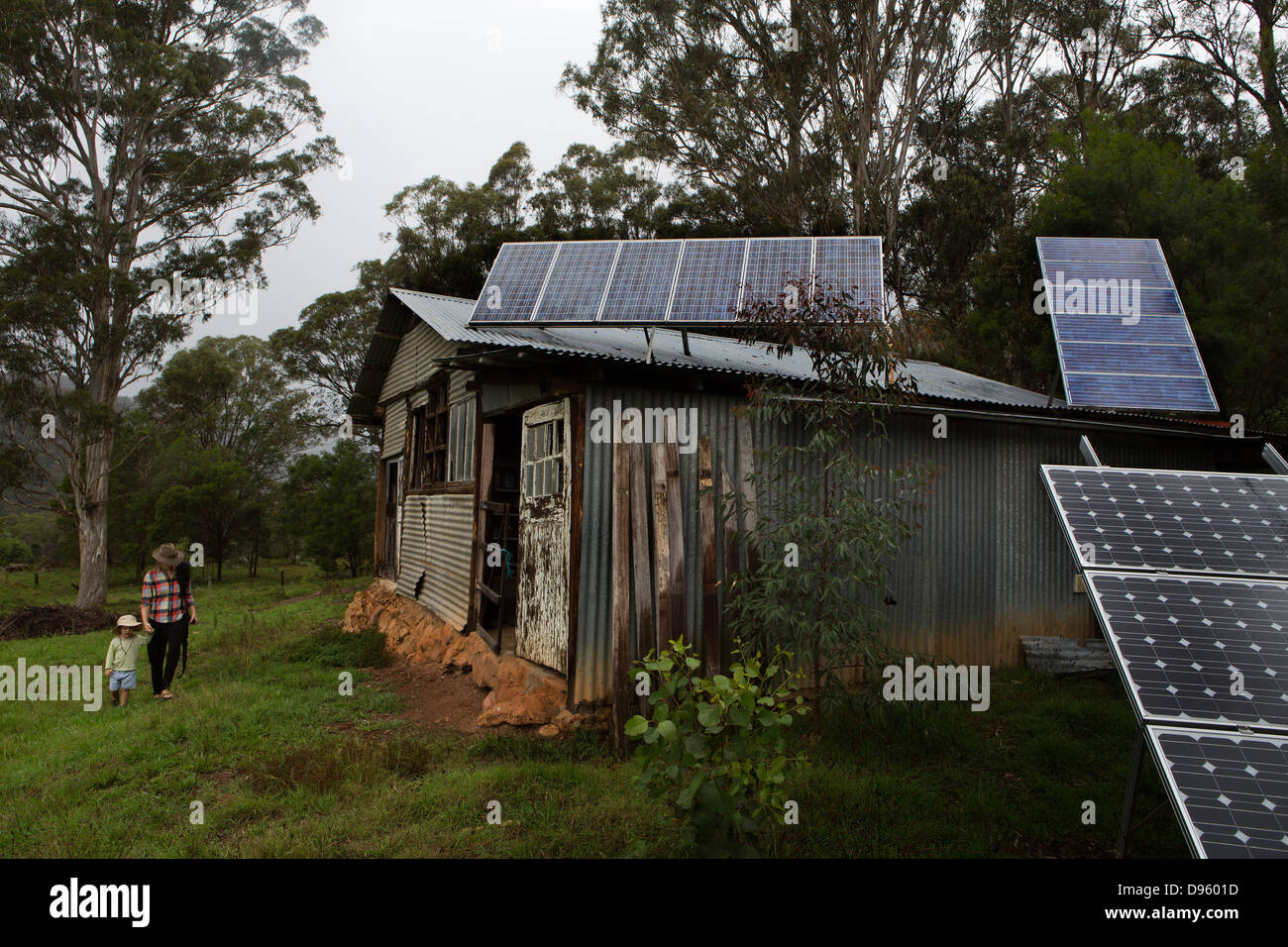 Stables with extensive solar panels, New South Wales, Australia - Stock Image