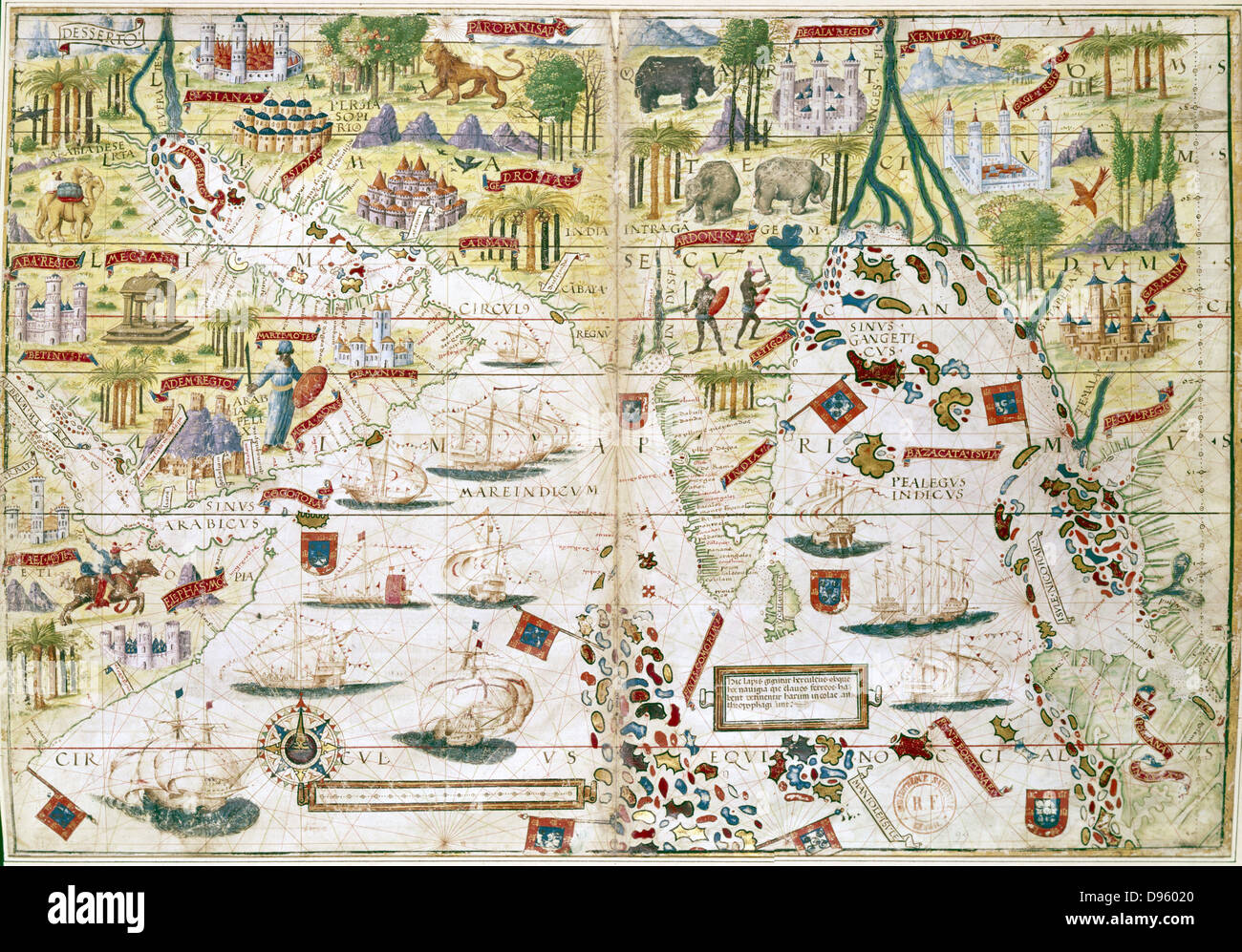 16th century Portugese map of the Indian Ocean, Persian Gulf, India ...