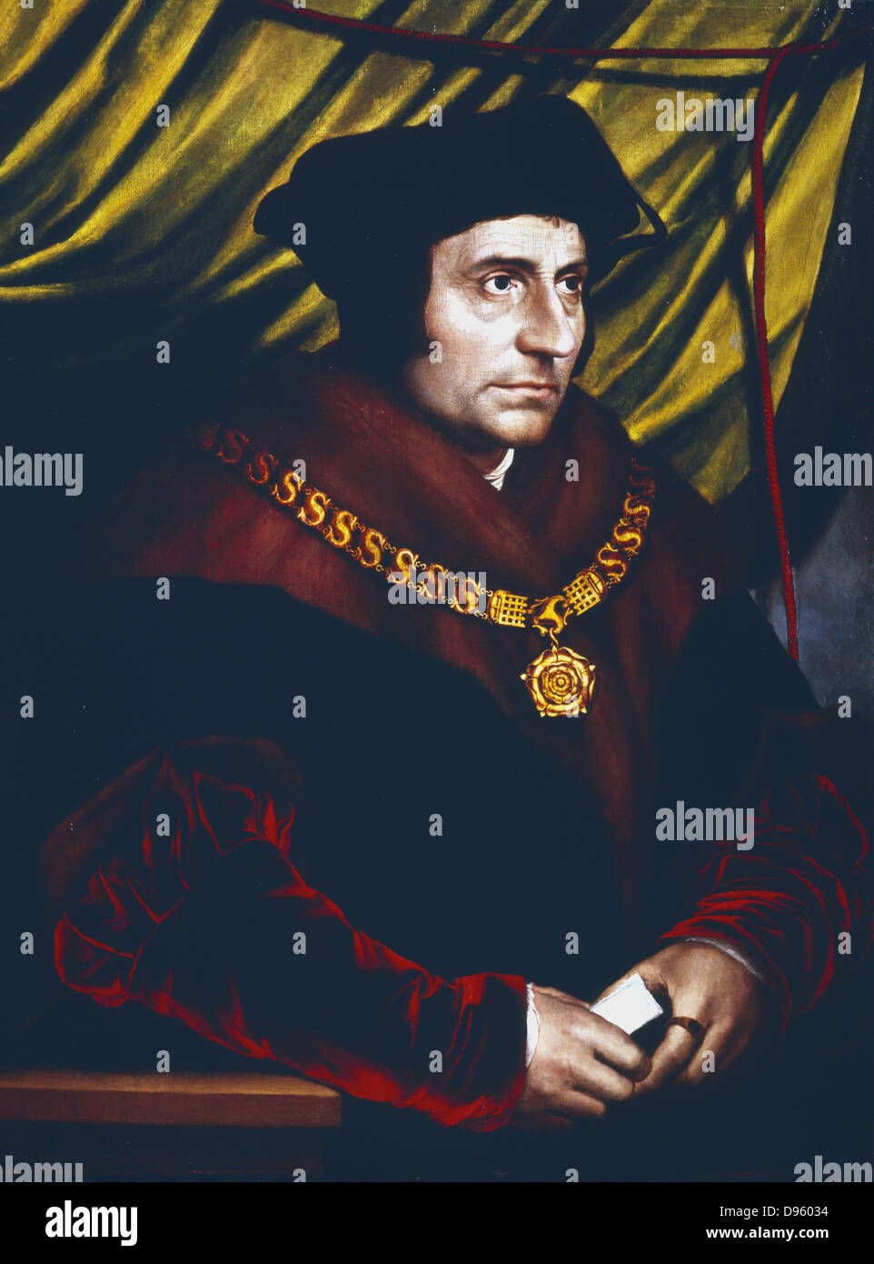 Thomas More (1478-1535)  English statesman, scholar and saint. Portrait by Hans Holbein (c1497-1543) of More as Stock Photo