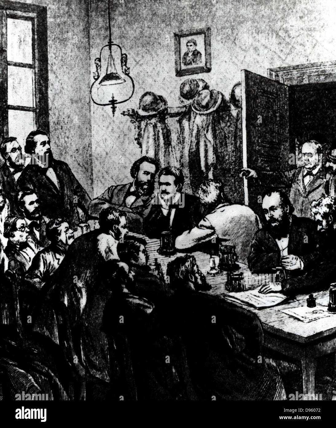 Breaking up of a meeting of a meeting of the Social Democrats, Leipzig, 1881.  Among the participants were Wilhelm - Stock Image