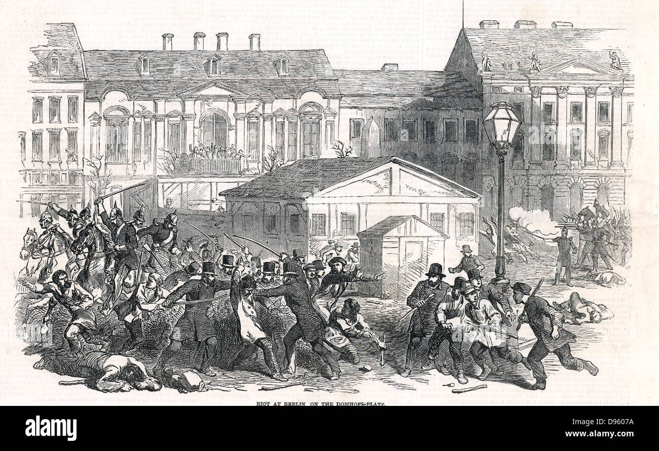 Revolution in Germany. Conflict between troops and citizens in the Domhofs Platz, Berlin, 28 May 1849. On the left - Stock Image