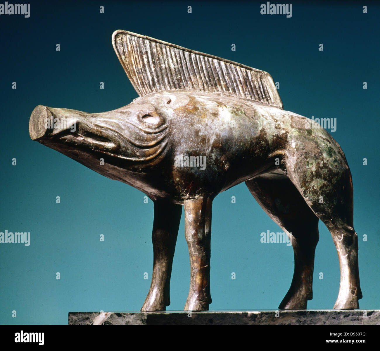 Celtic Art: Bronze boar from Sanctuary of Newy (Loiret). Musee d'Orleans. - Stock Image