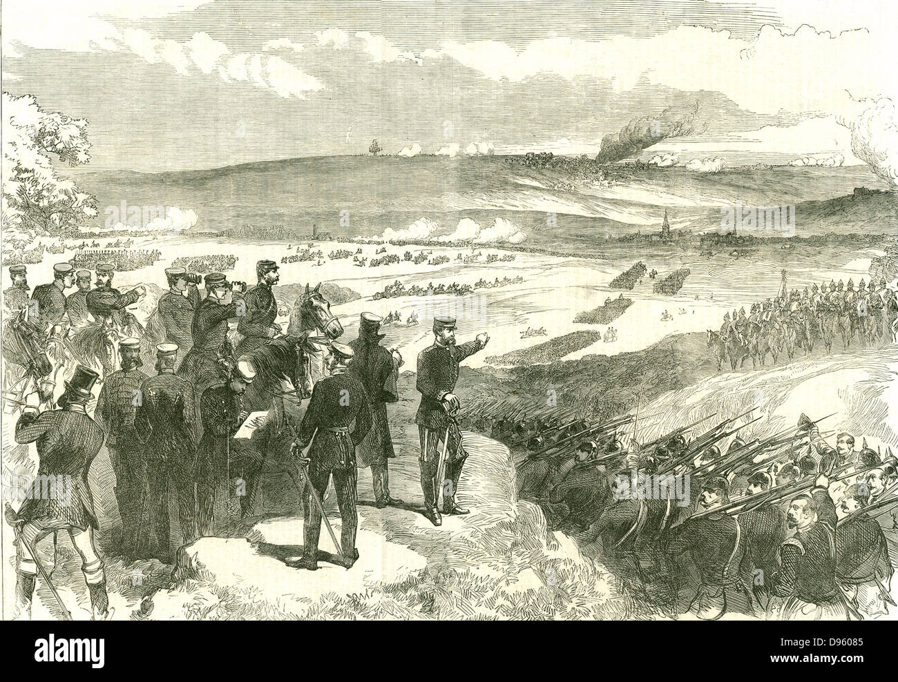 Battle of Sadowa (Sadova, Koniggratz), Bohemia, 3 July 1866, the decisive battle in the Austro-Prussian War.  Austria - Stock Image