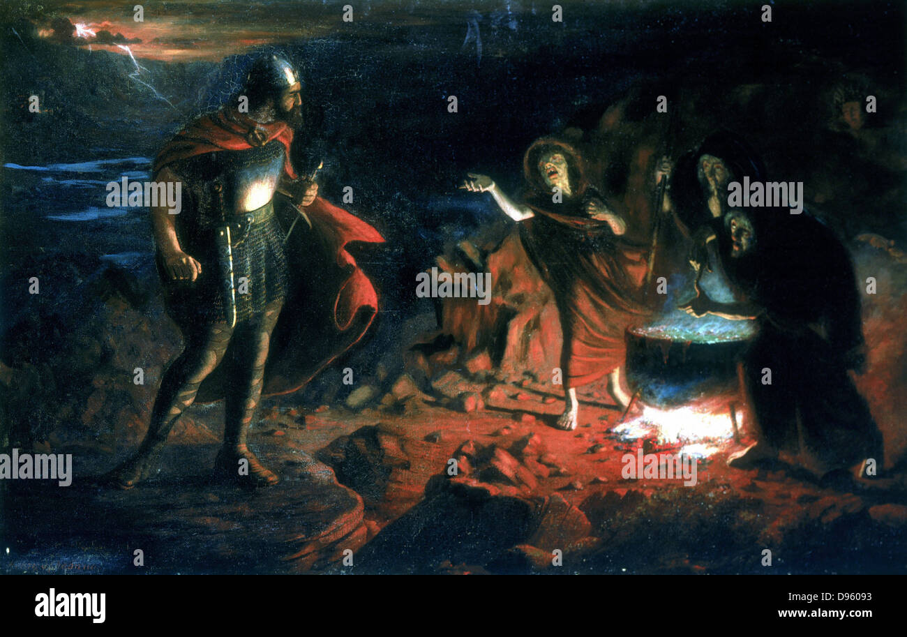 Macbeth and the Witches' by Henry Daniel Chadwick (active mid-19th century), English painter. Macbeth meeting - Stock Image