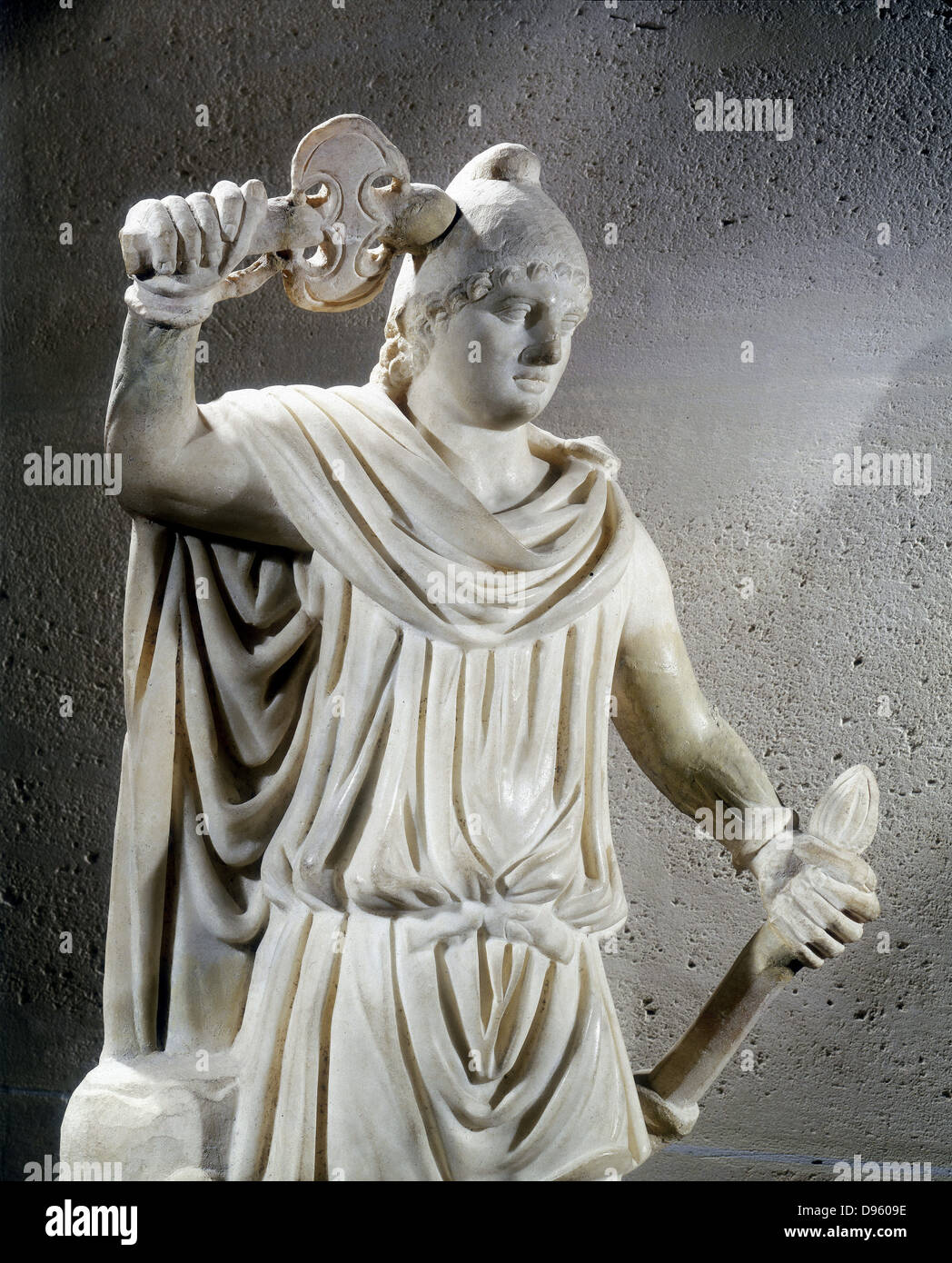 Statue of Mithras, ancient Persian god of light who was adopted into the Roman pantheon. Mithras is shown wearing Stock Photo