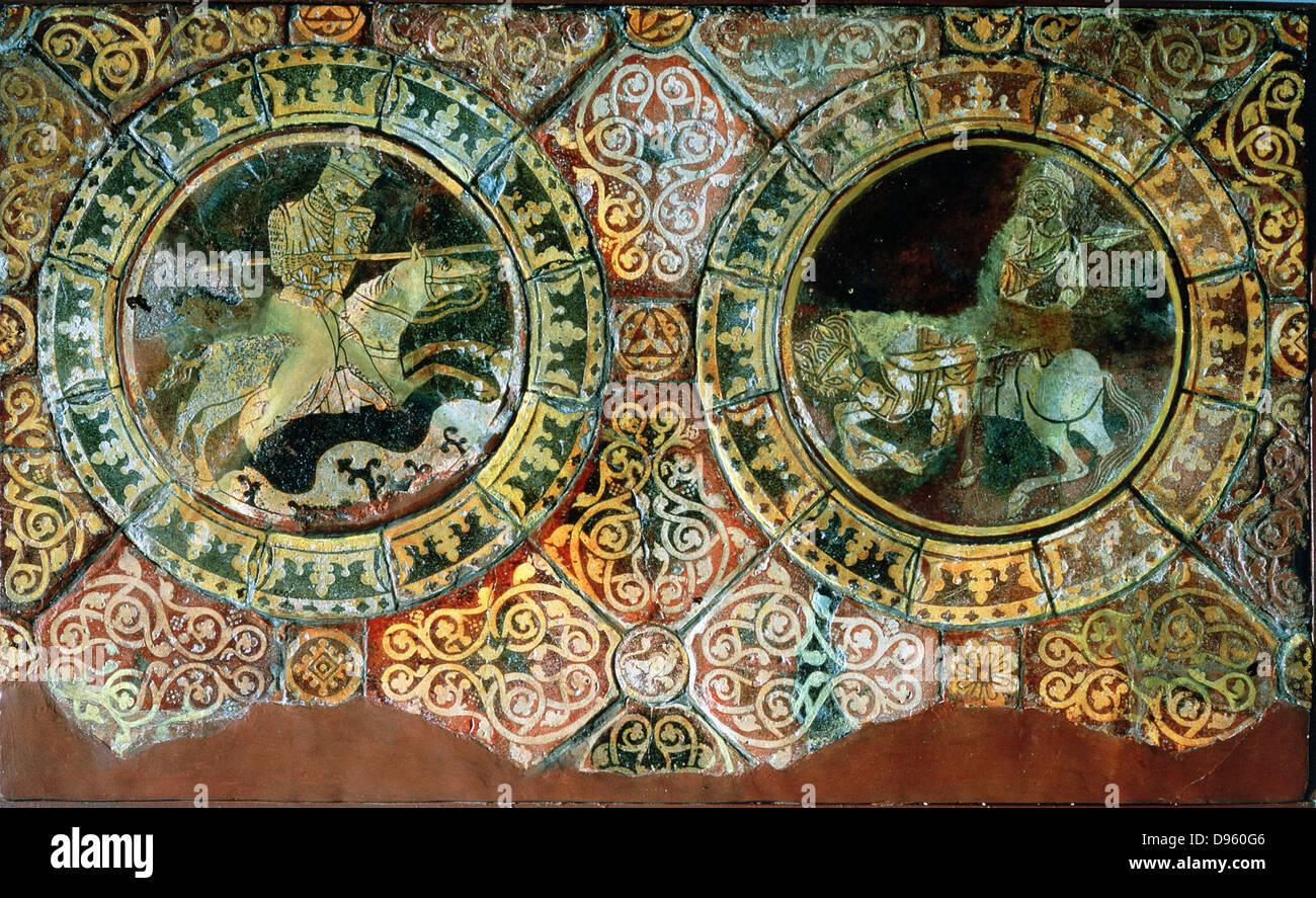 Richard I, Coeur de Lion or Lionheart (1157-1199),left,king of England from 1189, and Saladin, Sal al-Din al-Ayyubu, - Stock Image