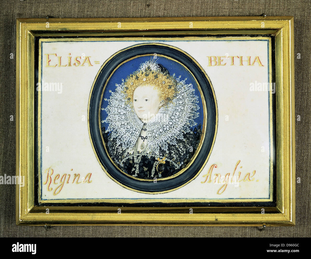 Elizabeth I (1533-1603) Queen of England  and Ireland from 1558. Miniature by Nicholas Hilliard (1547-1619) Victoria - Stock Image