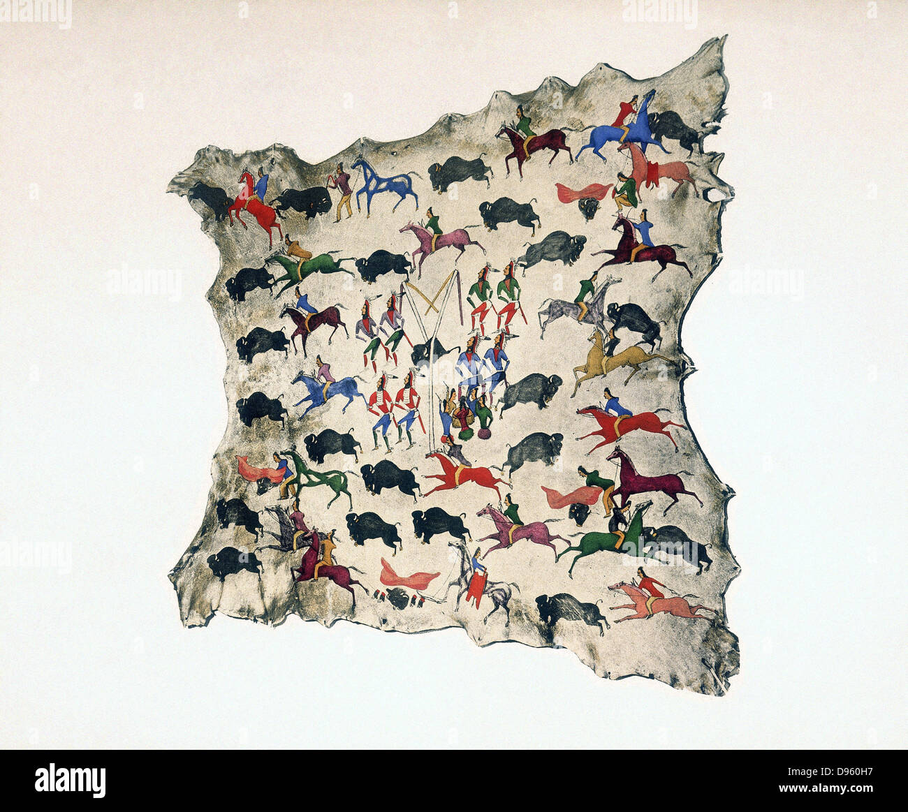North American  Indian painting, early 20th century. Painting on moose skin by Shoshone, Katsikodi, showing Buffalo - Stock Image