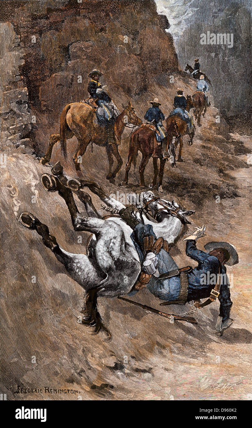 Buffalo soldier and his horse taking a tumble from the trail, 1880s. Hand-colored woodcut of a Frederic Remington - Stock Image