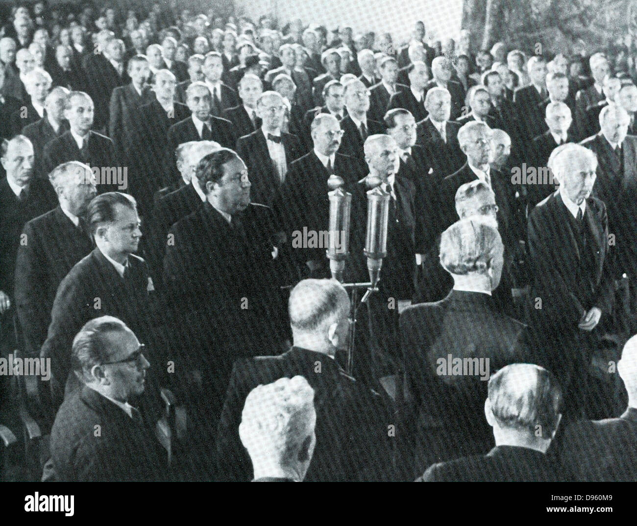 Members of the Bundesraat or Parliament of West Germany in 1950. - Stock Image