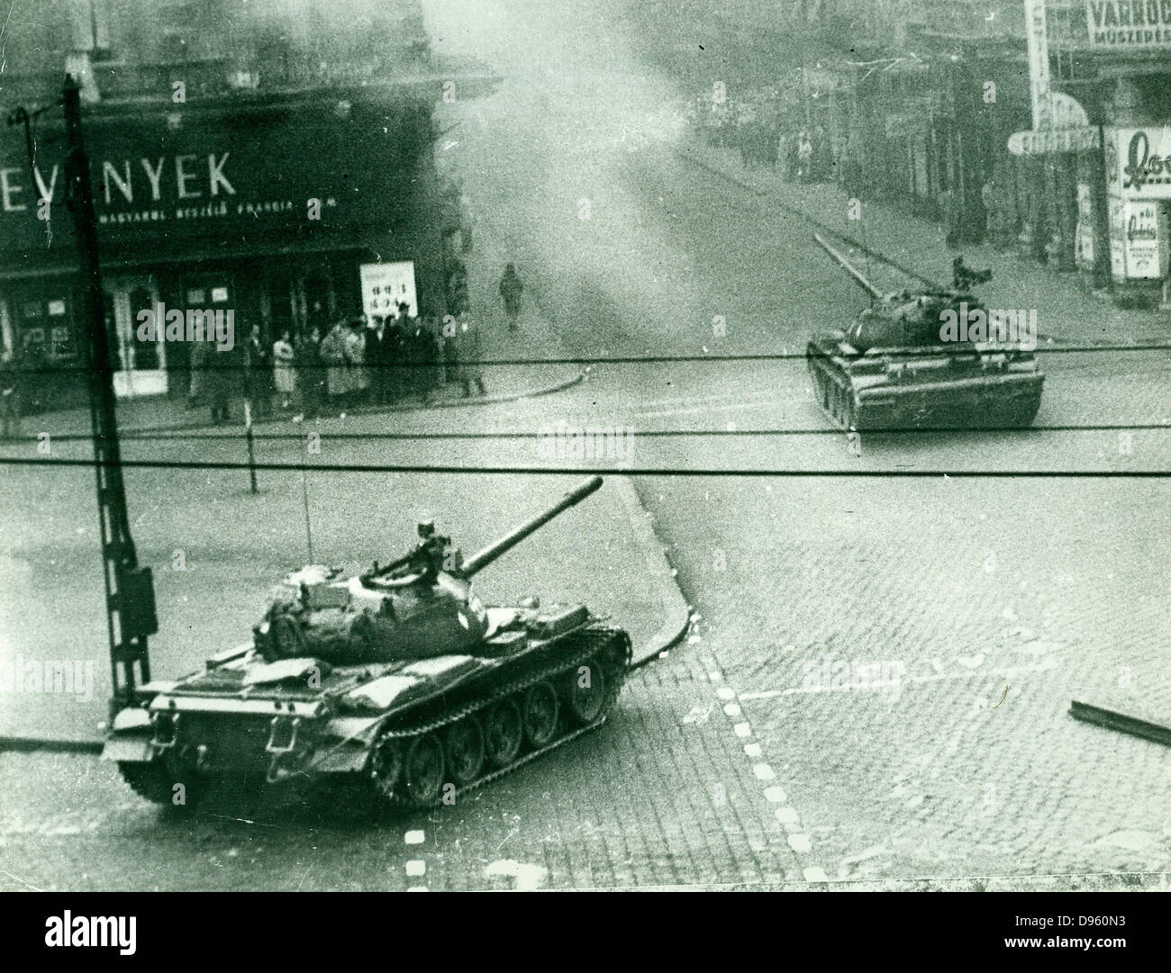 Hungarian uprising, October 1956. Soviet tanks in the streets of Budapest. Stock Photo