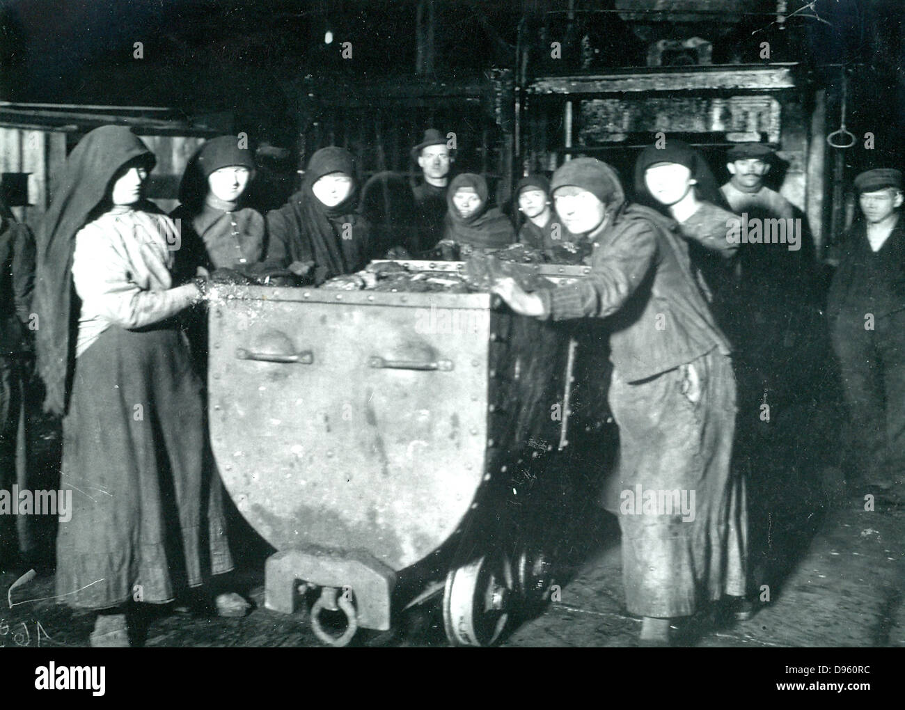 Slave labourers at a Polish Mine in Nazi occupied Silesia c1941. - Stock Image
