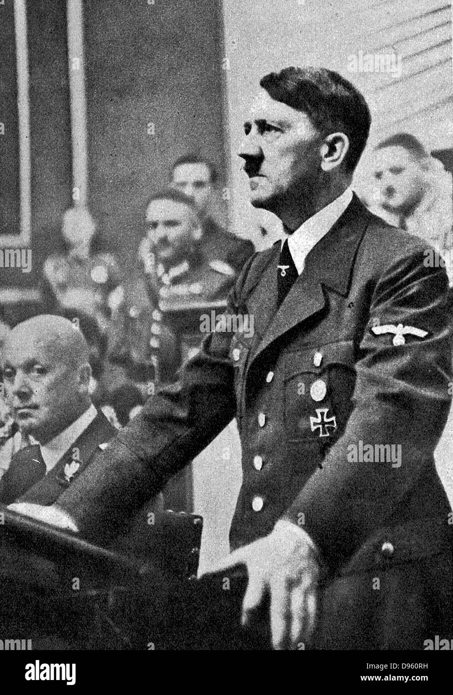 Adolph Hitler addressing a sitting of the German Reichstag on 3 September 1939, the day on which Great Britain and - Stock Image