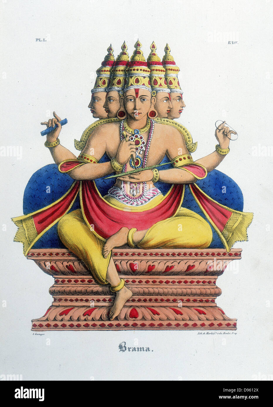 Brahma, first god of the Hindu trinity (trimurti), creator of the universe.  Lithograph from 'L'Inde Francaise', - Stock Image