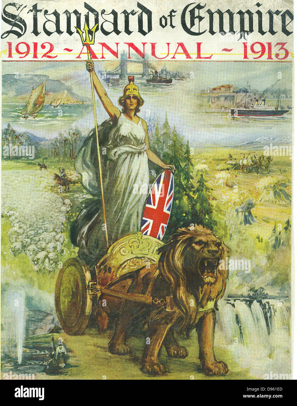 Jingoistic cover of the 'Standard of Empire' Annual for 1912-1913 showing Britannia in a chariot drawn by - Stock Image