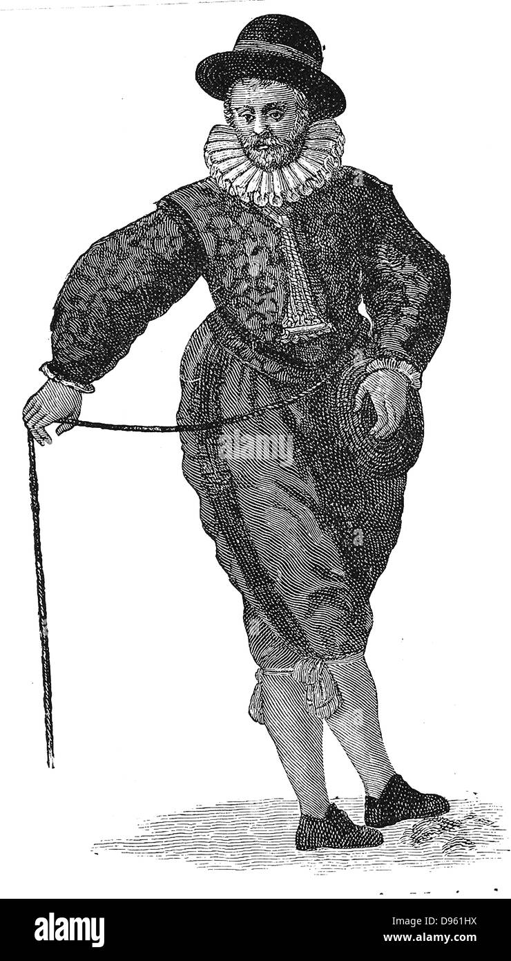 An English sea captain.  Engraving from Waghenhaer 'Mariner's Mirrour', London, 1588. - Stock Image