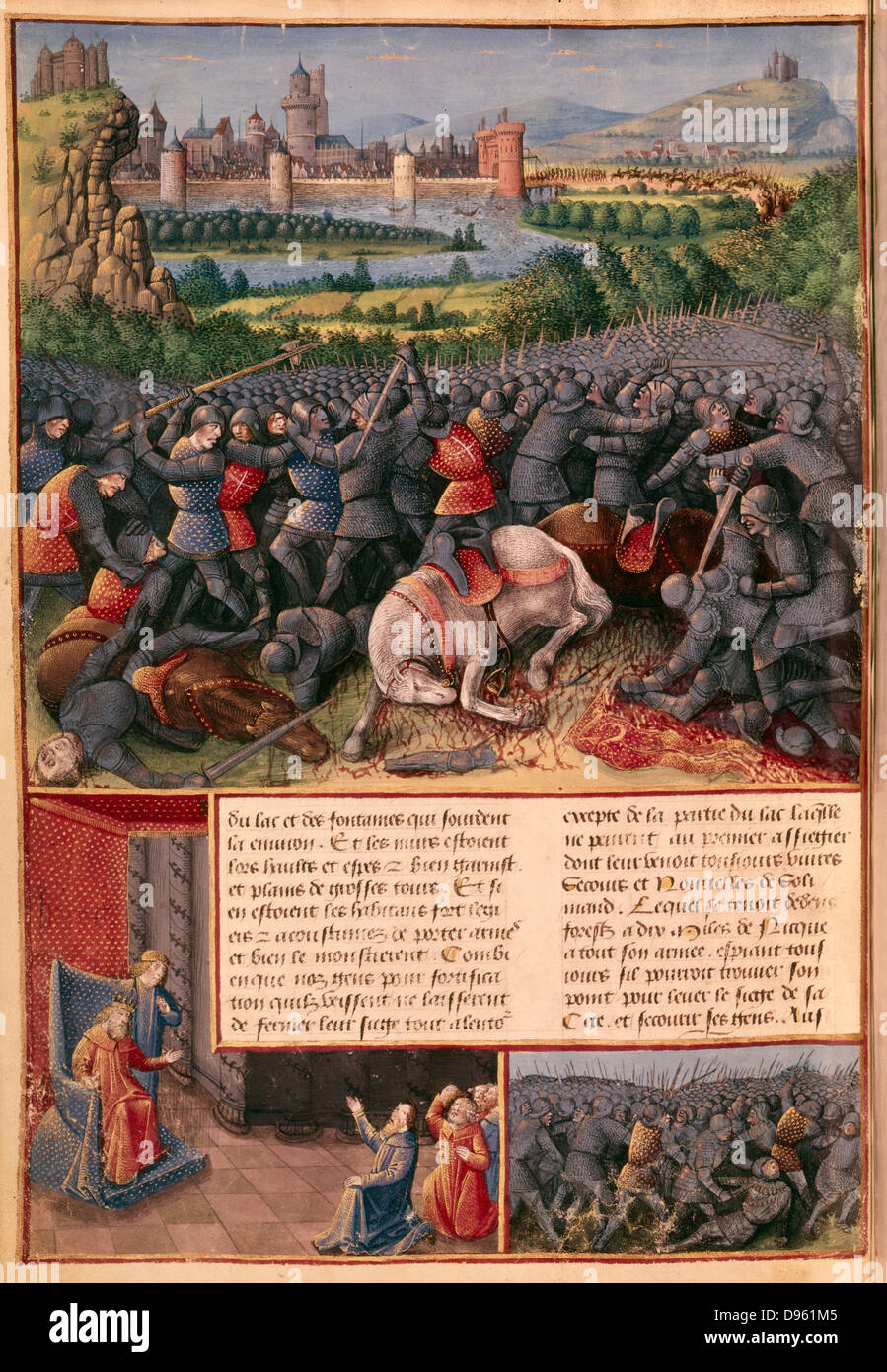 Battle during the First Crusade (The People's Crusade) 1096-1099. Mounted knights are unhorsed and killed, foreground. - Stock Image