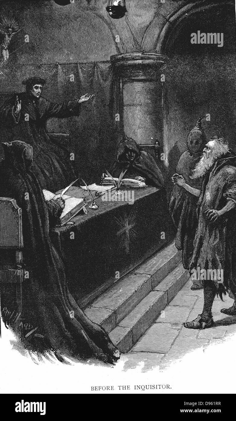 Spanish Inquisition (late 15th century). Spanish Jew before the Grand Inquisitor. Illustration by Paul Hardy  for - Stock Image