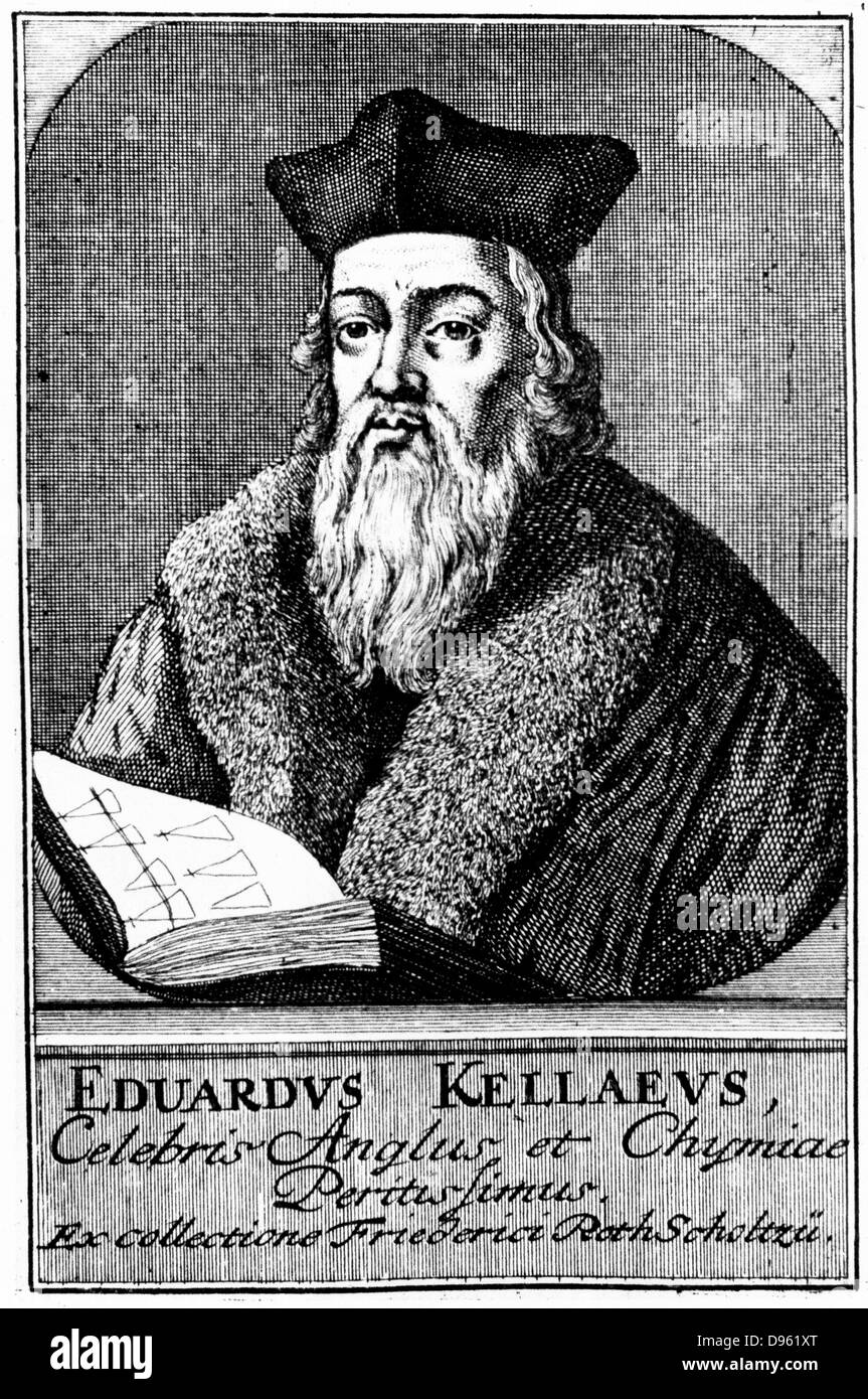 Edward Kelley or Kelly (active 1575) English astrologer and alchemist.  Assistant to John Dee. Copperplate engraving circa 1700.
