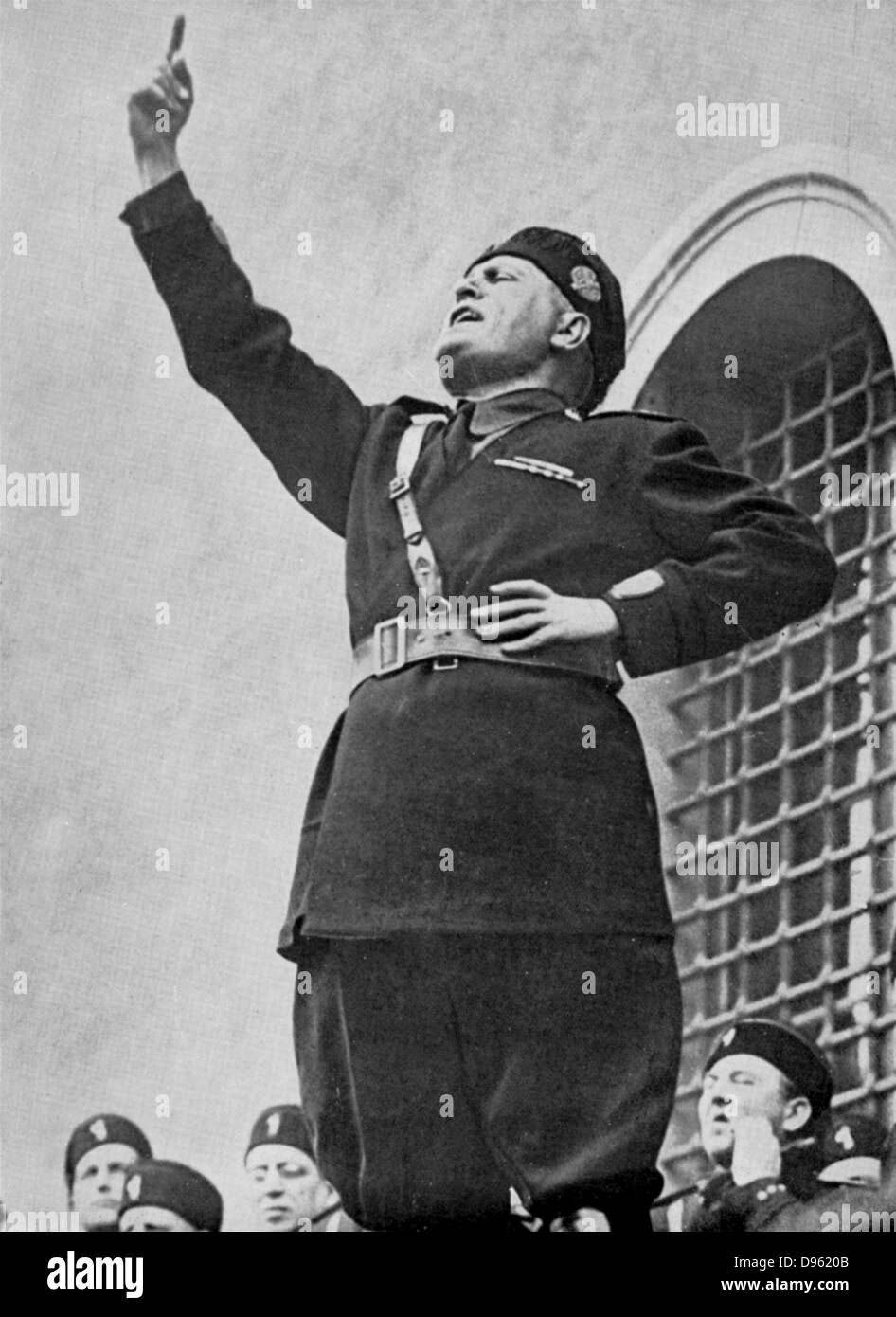 Benito Mussolini (1883-1945) - 'Il Duce' - Italian fascist dictator  addressing fascist youths on the occasion of the calling up