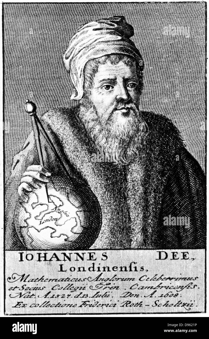 John Dee (1527-1608) English alchemist, geographer and mathematician.  18th century copperplate engraving. - Stock Image