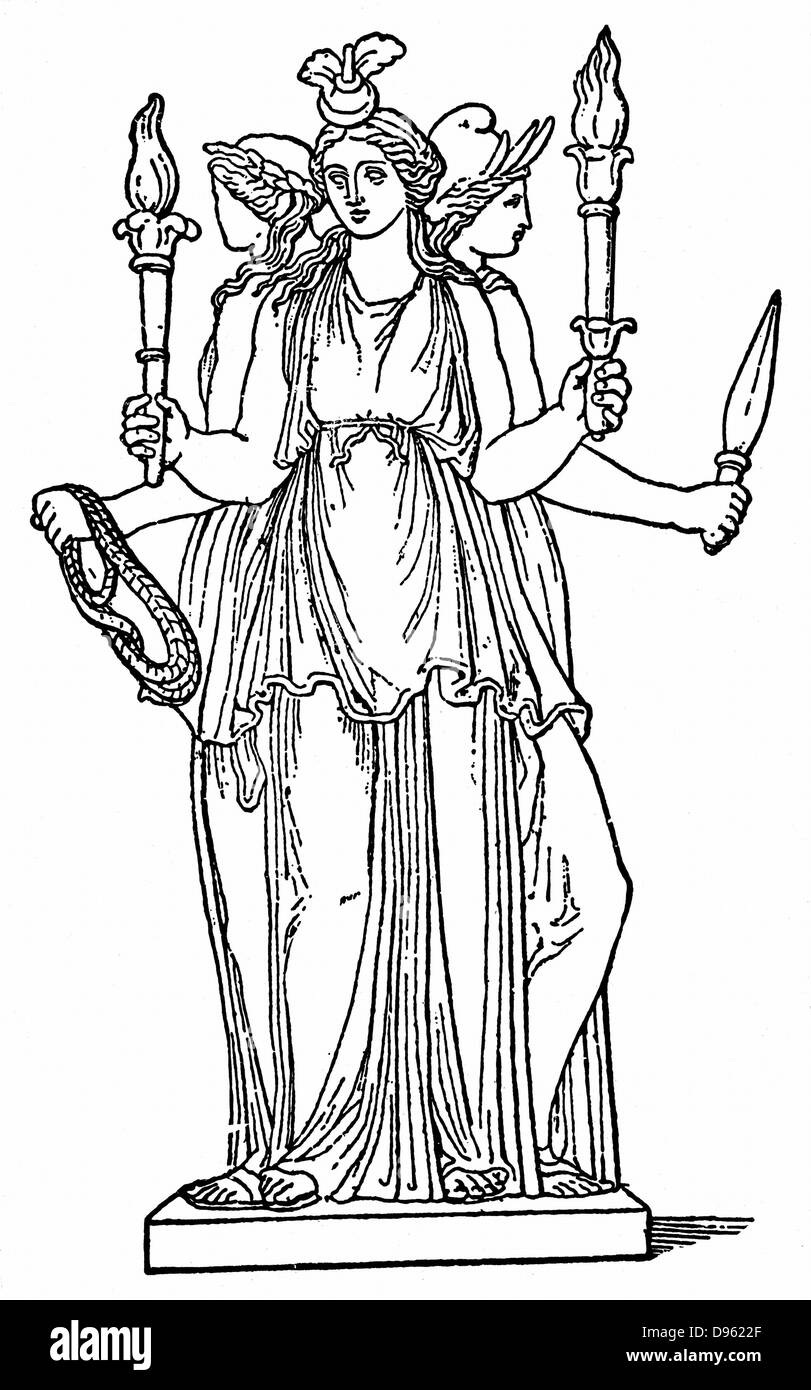 Hecate, triple-bodied daughter of the Titan Perses and of Asteria. As goddess of the lower world,  in Ancient Greek - Stock Image