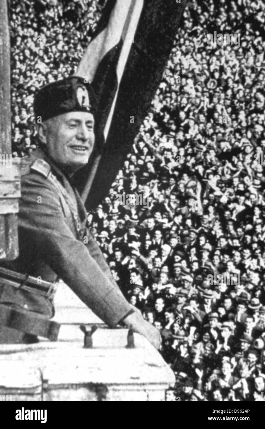 Benito Mussolini (1883-1945) 'Il Duce', Italian facist dictator, addressing  a rally.